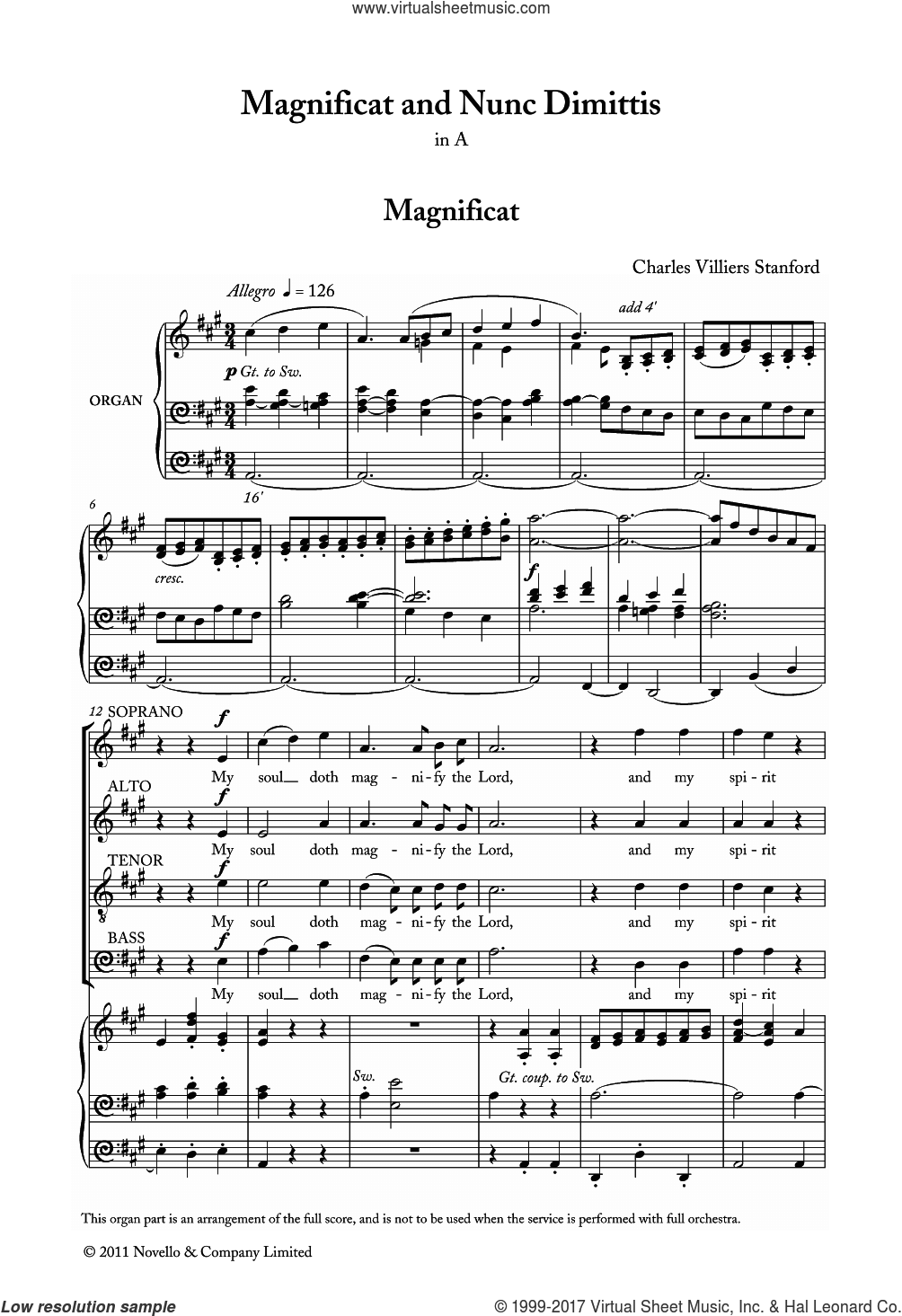 Magnificat And Nunc Dimittis In A sheet music for voice, piano or guitar by Charles Villiers Stanford and Liturgical Text, classical score, intermediate skill level