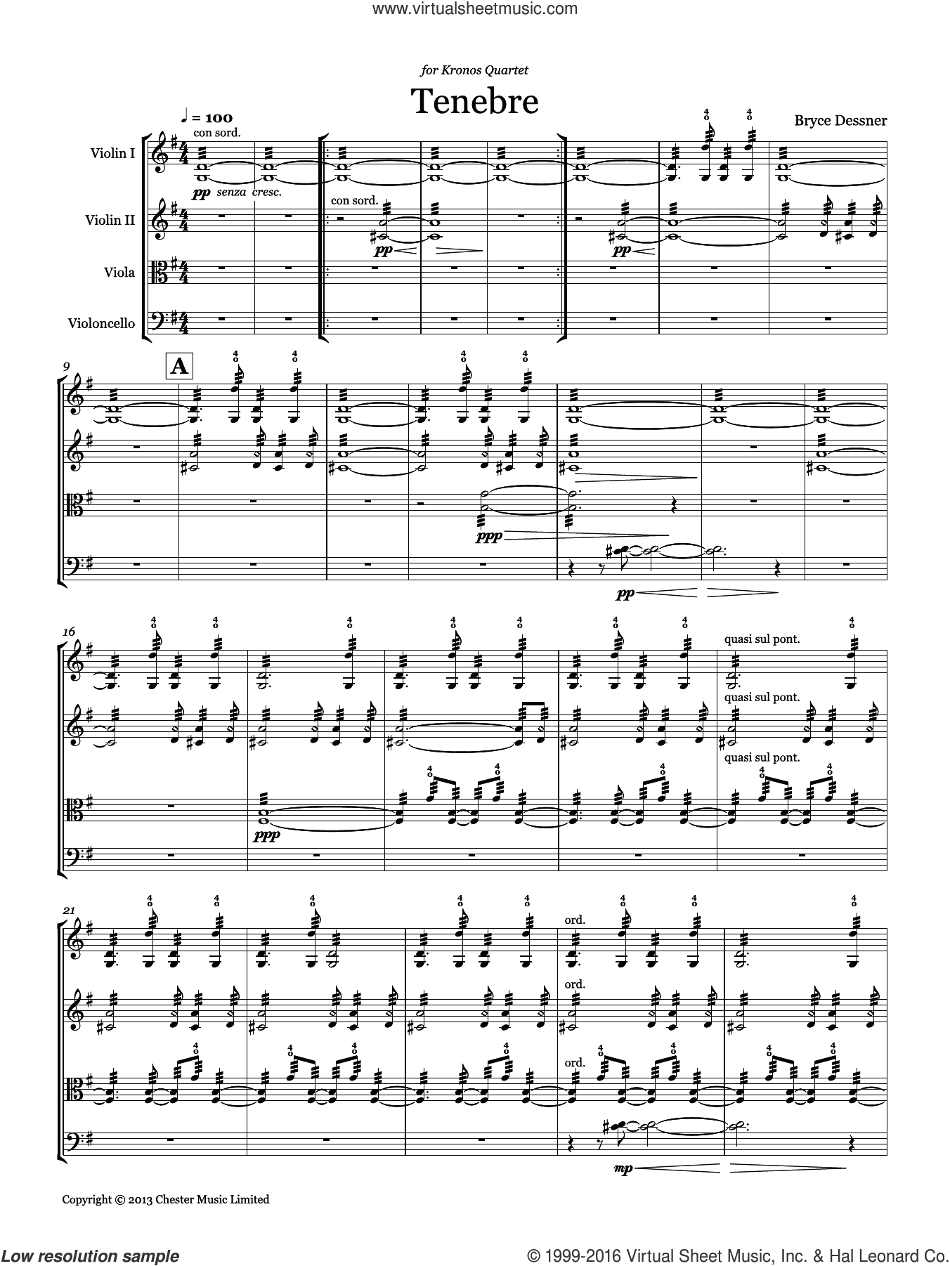 Tenebre (String quartet score and parts) sheet music for string orchestra by Bryce Dessner, classical score, intermediate. Score Image Preview.