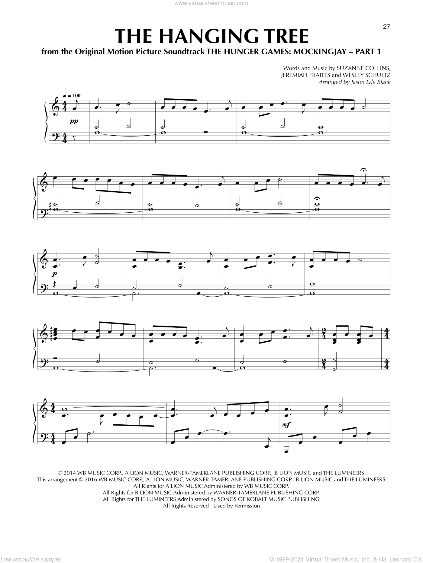 The Hanging Tree sheet music for piano solo by Jason Lyle Black and James Newton Howard, intermediate piano. Score Image Preview.