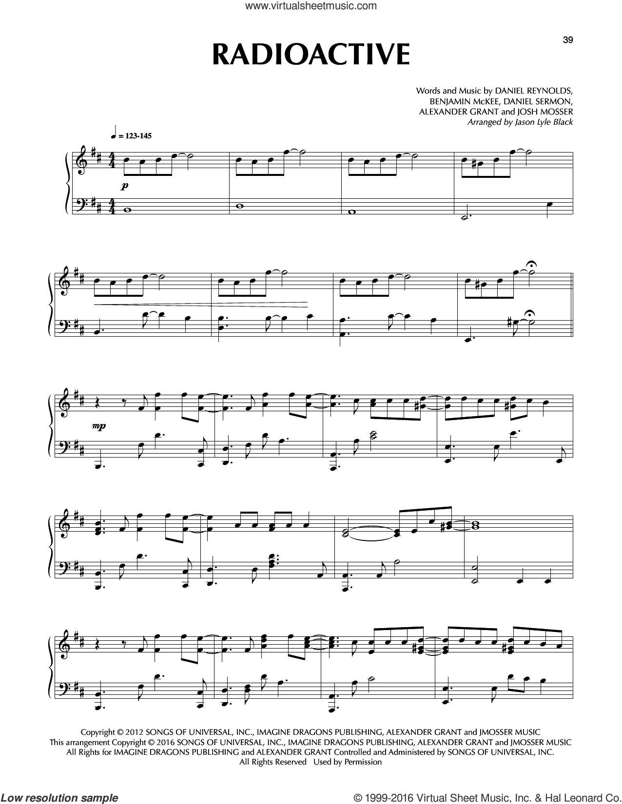 Radioactive sheet music for piano solo by Jason Lyle Black, Imagine Dragons, Alexander Grant, Benjamin McKee, Daniel Reynolds, Daniel Sermon and Josh Mosser, intermediate. Score Image Preview.