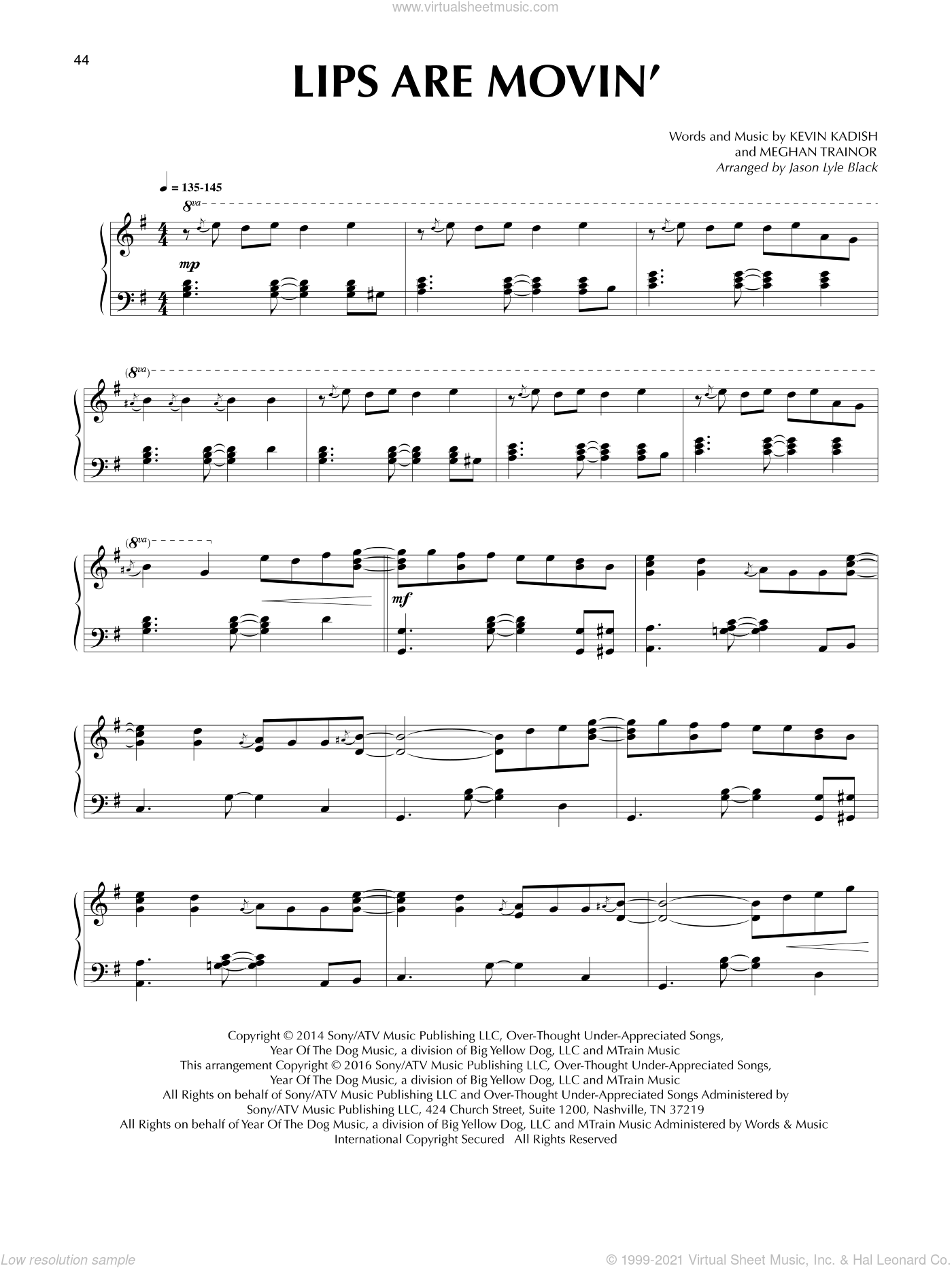 Lips Are Movin' sheet music for piano solo by Meghan Trainor, Jason Lyle Black and Kevin Kadish, intermediate piano. Score Image Preview.