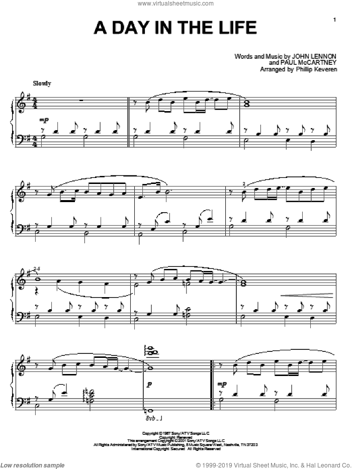 A Day In The Life, (intermediate) sheet music for piano solo by The Beatles, Phillip Keveren, John Lennon and Paul McCartney, intermediate skill level