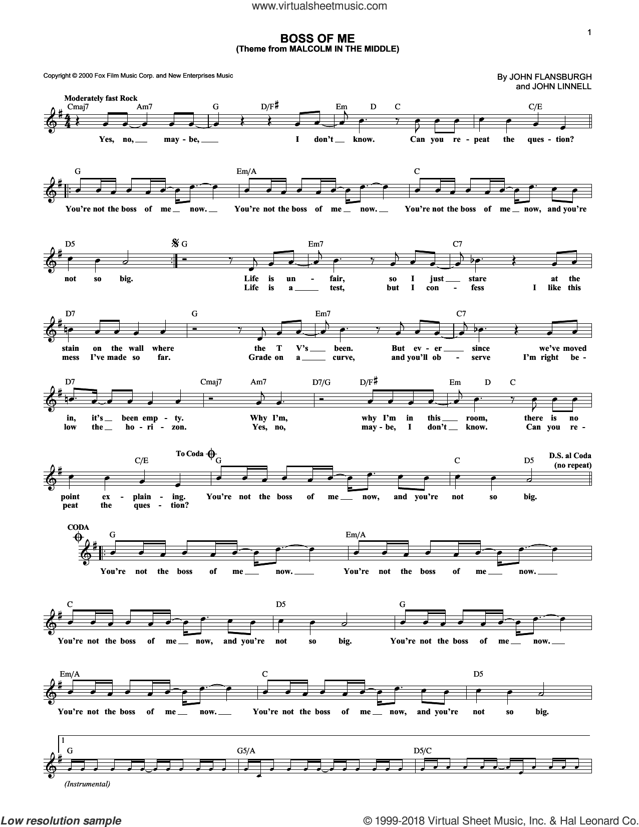 Boss Of Me (Theme From Malcolm In The Middle) sheet music for voice and other instruments (fake book) by They Might Be Giants, intermediate voice. Score Image Preview.