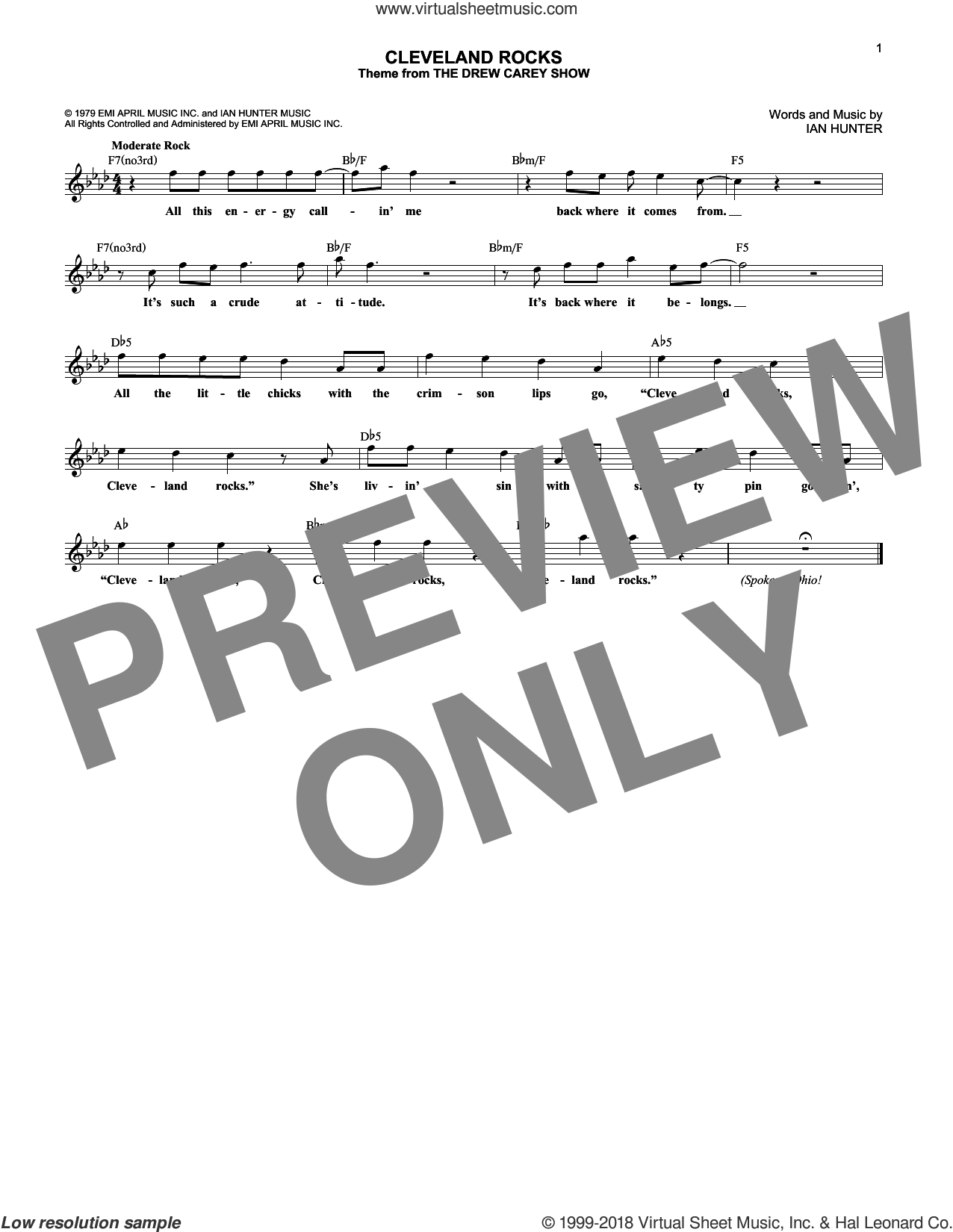 Cleveland Rocks sheet music for voice and other instruments (fake book) by Ian Hunter. Score Image Preview.