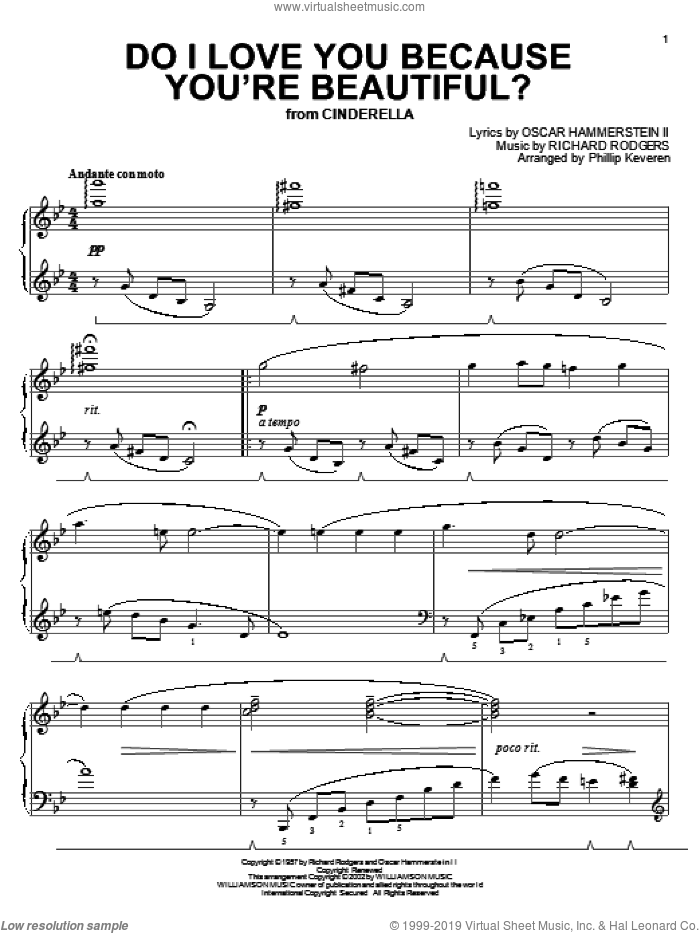 Do I Love You Because You're Beautiful? sheet music for piano solo by Rodgers & Hammerstein, Phillip Keveren, Cinderella (Musical), Oscar II Hammerstein and Richard Rodgers, wedding score, intermediate. Score Image Preview.