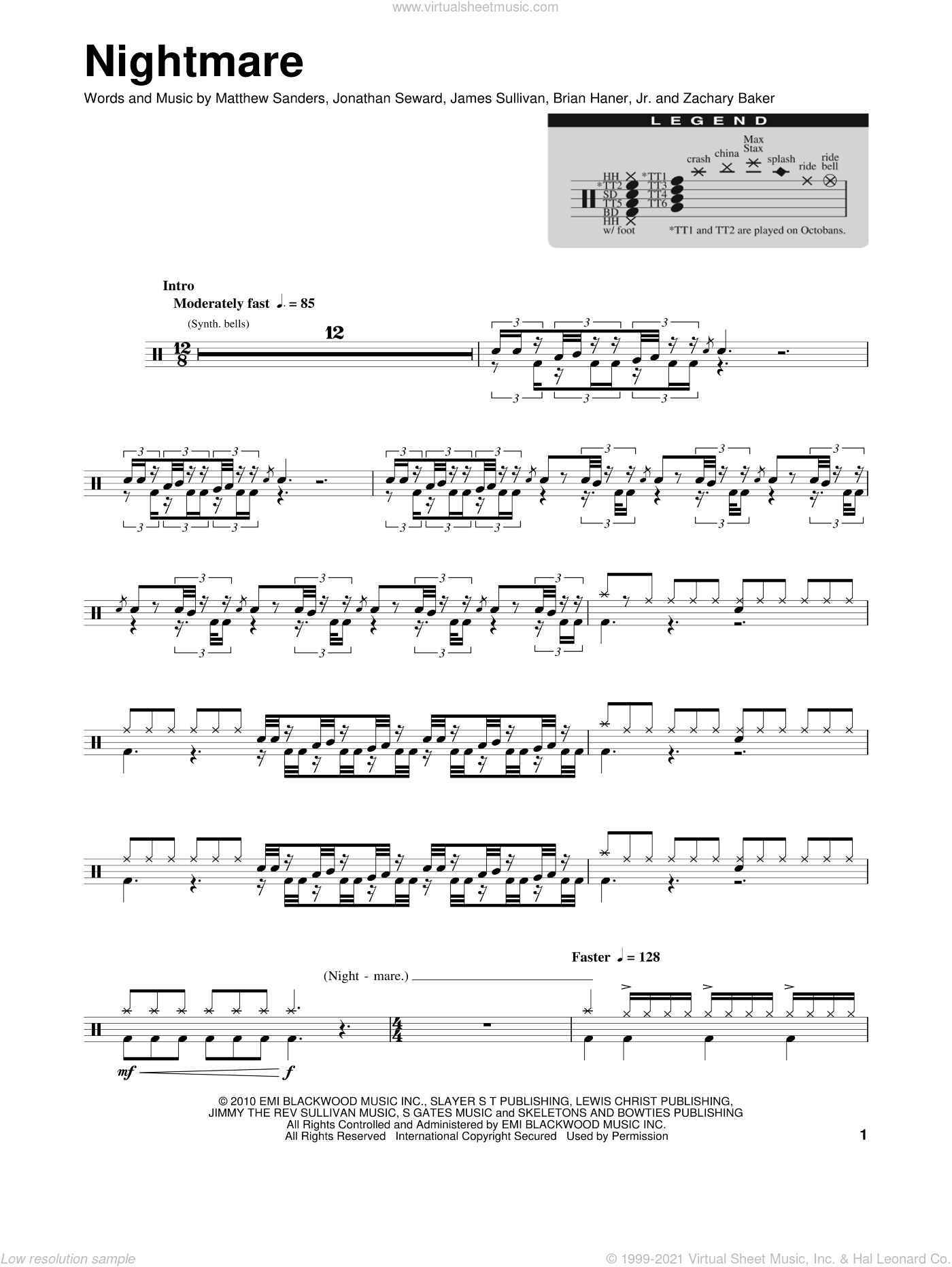 Nightmare sheet music for drums by Avenged Sevenfold, Brian Haner, Jr., James Sullivan, Jonathan Seward, Matthew Sanders and Zachary Baker, intermediate. Score Image Preview.