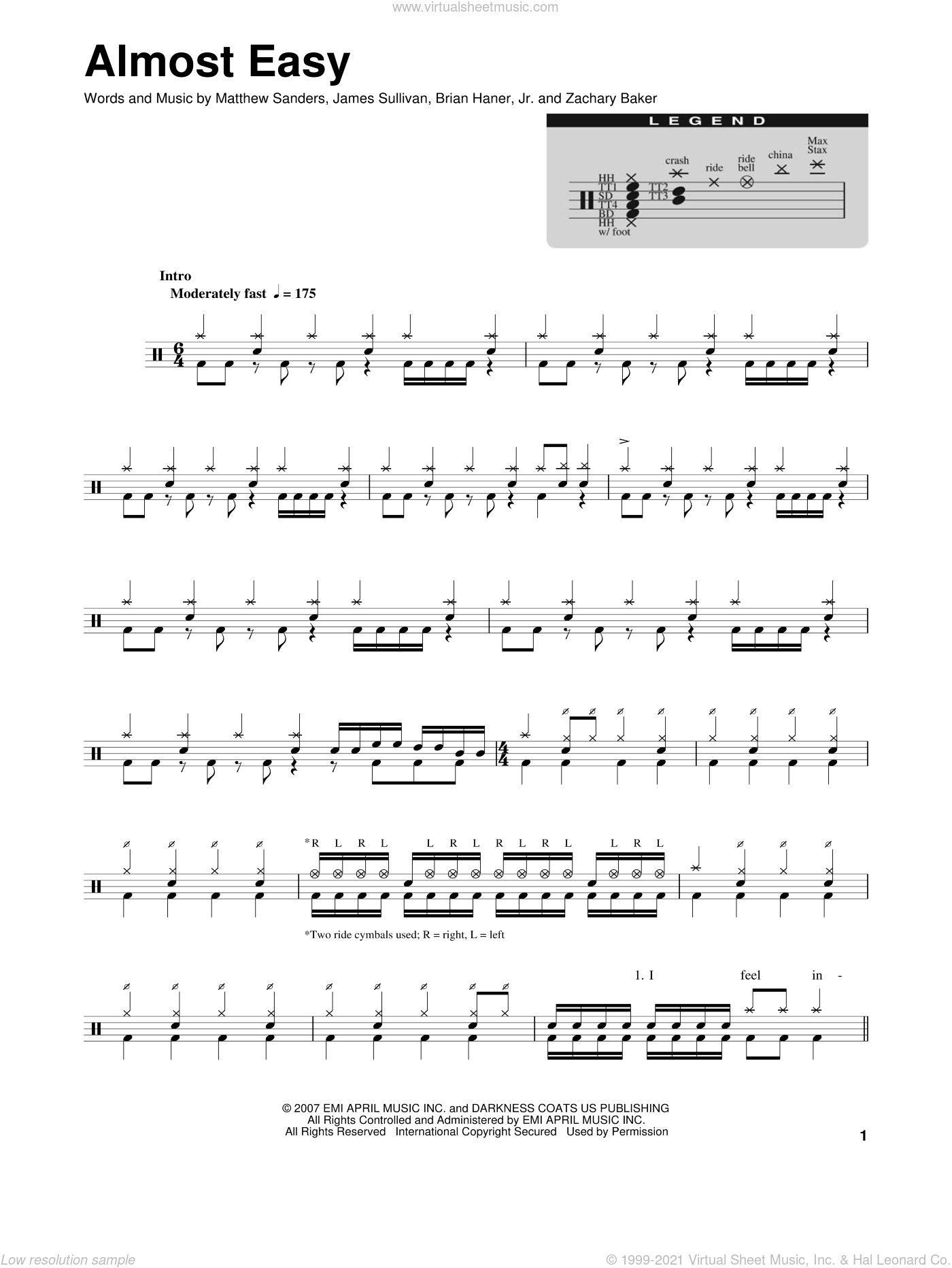 Almost Easy sheet music for drums by Avenged Sevenfold, intermediate drums. Score Image Preview.