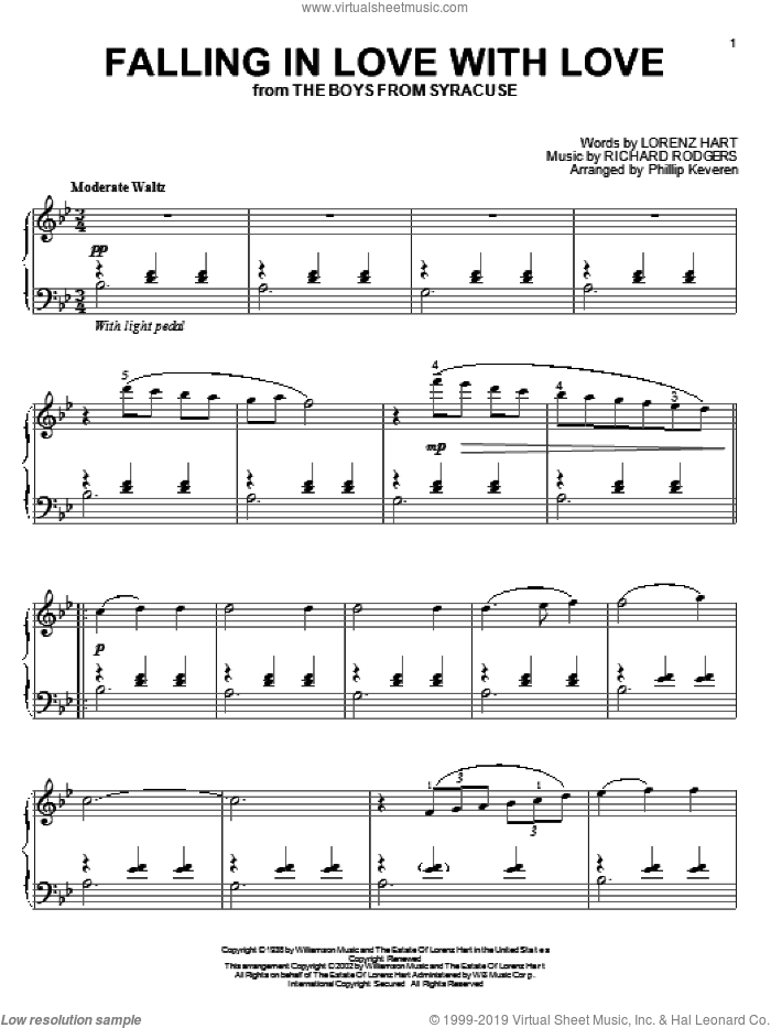 Falling In Love With Love sheet music for piano solo by Rodgers & Hart, Phillip Keveren, Lorenz Hart and Richard Rodgers, intermediate skill level