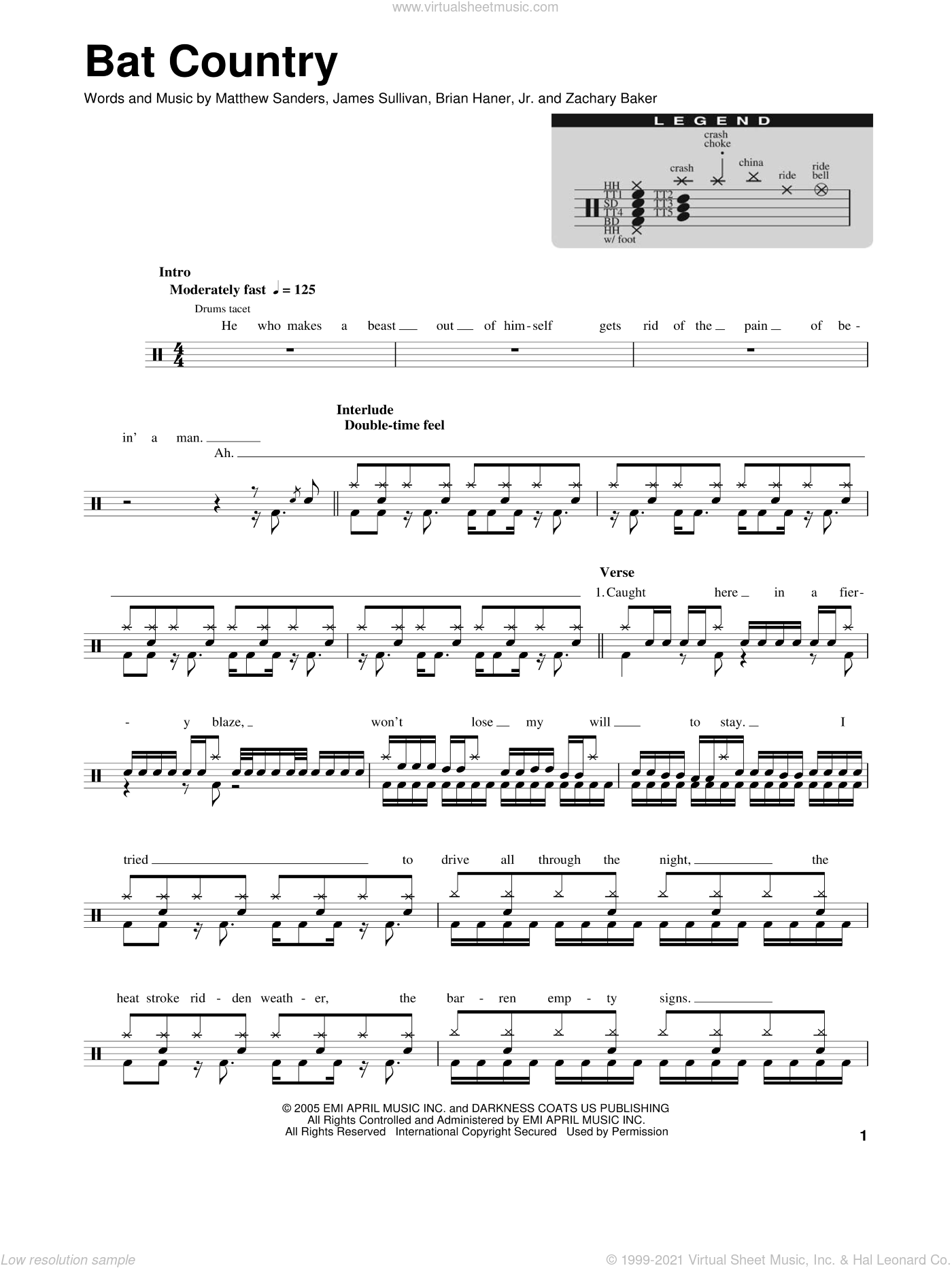 Bat Country sheet music for drums by Avenged Sevenfold, intermediate drums. Score Image Preview.