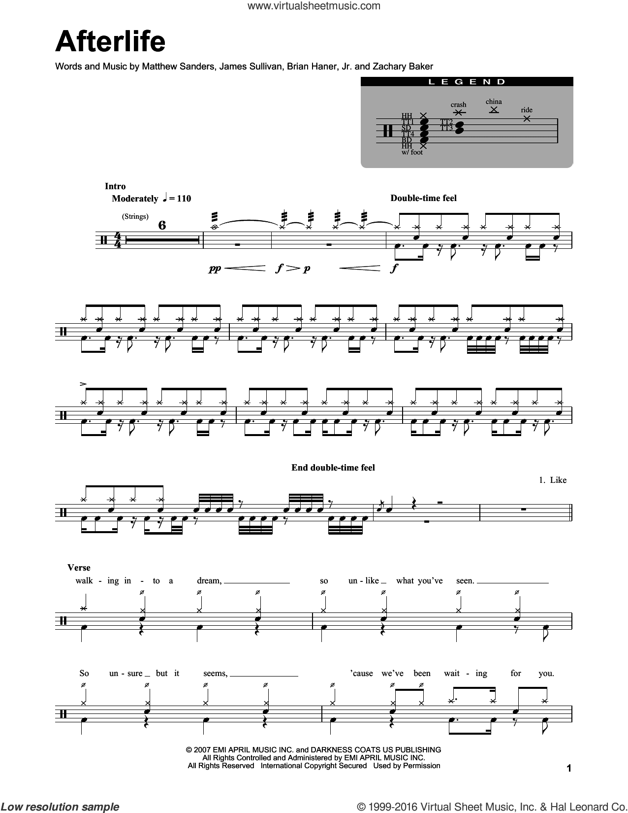 Afterlife sheet music for drums by Avenged Sevenfold, Brian Haner, Jr., James Sullivan, Matthew Sanders and Zachary Baker, intermediate skill level