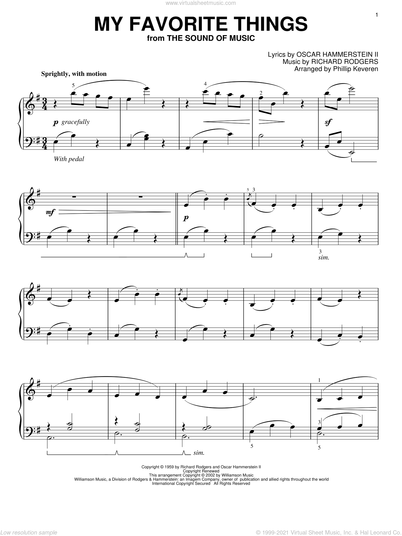 My Favorite Things, (intermediate) sheet music for piano solo by Rodgers & Hammerstein, Phillip Keveren, The Sound Of Music (Musical), Oscar II Hammerstein and Richard Rodgers, intermediate skill level