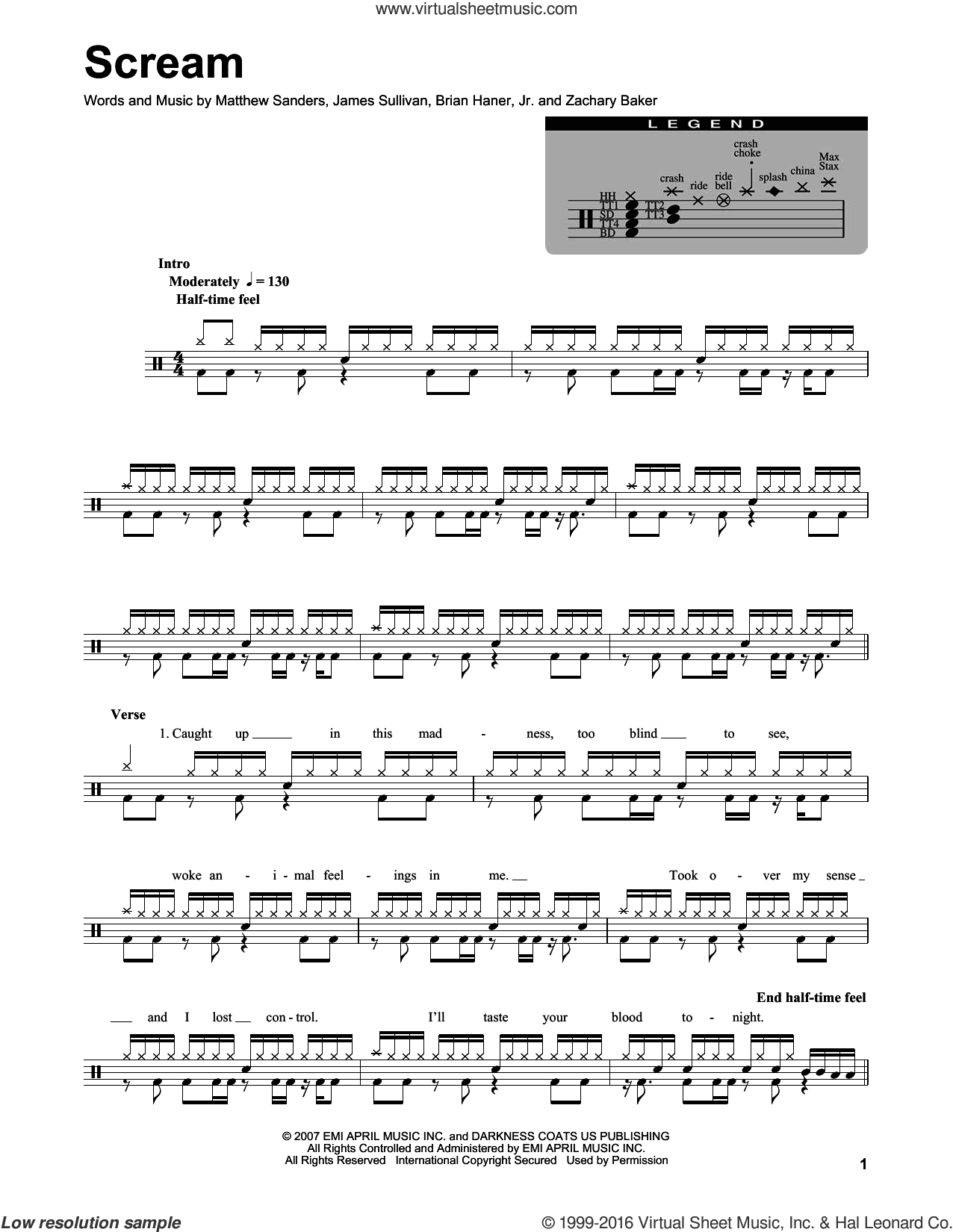 Scream sheet music for drums by Avenged Sevenfold, Brian Haner, Jr., James Sullivan, Matthew Sanders and Zachary Baker, intermediate skill level