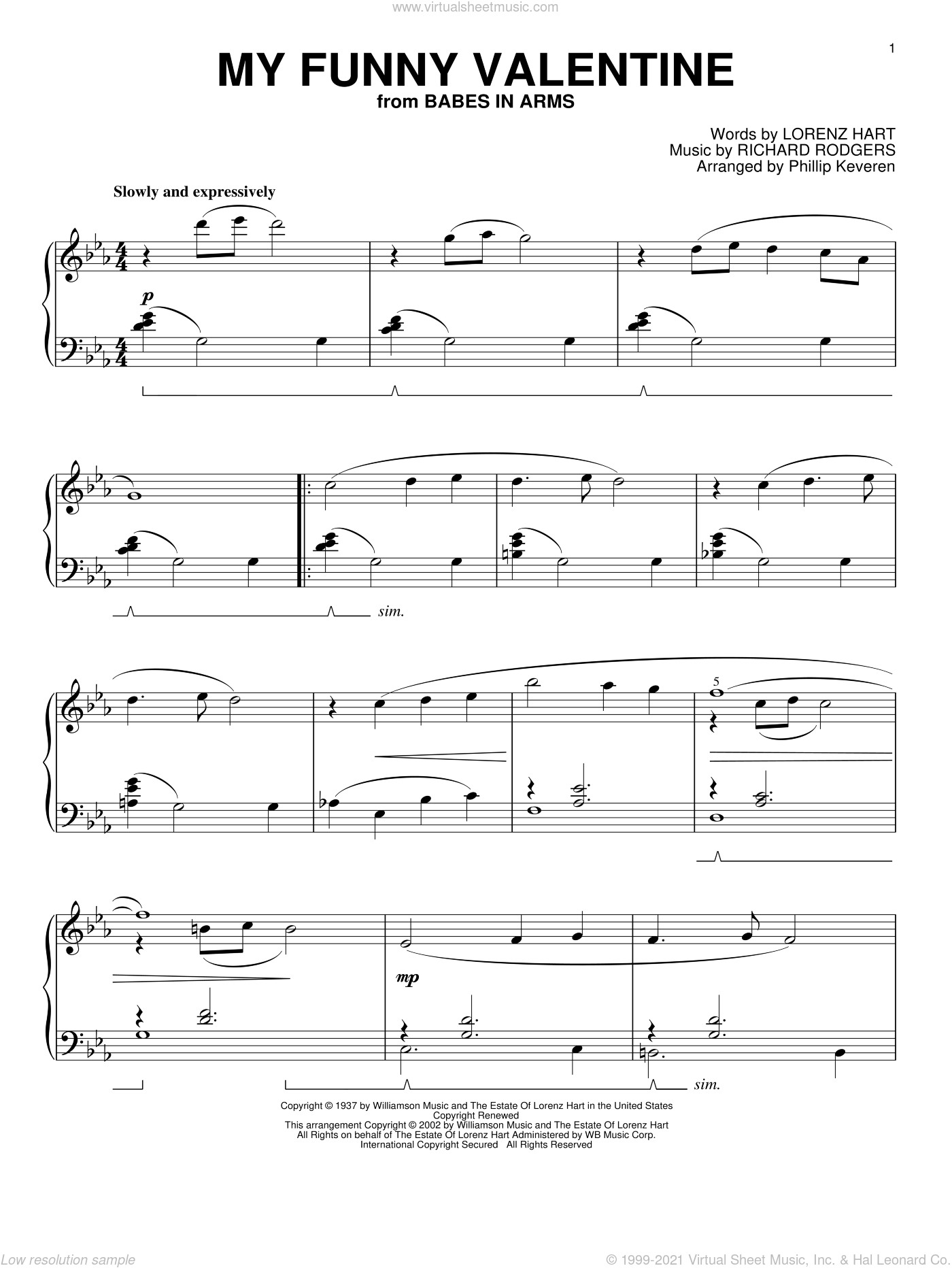 My Funny Valentine sheet music for piano solo by Rodgers & Hart, Phillip Keveren, Babes In Arms (Musical), Lorenz Hart and Richard Rodgers, intermediate skill level