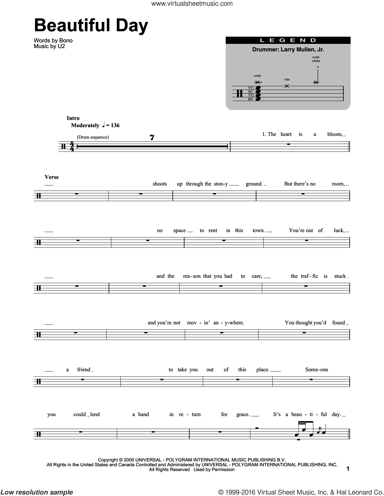 Beautiful Day sheet music for drums by U2 and Bono, intermediate. Score Image Preview.