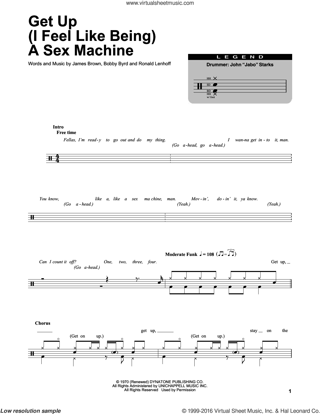 Get Up (I Feel Like Being A Sex Machine) sheet music for drums by Ronald Lenhoff, Bobby Byrd and James Brown. Score Image Preview.