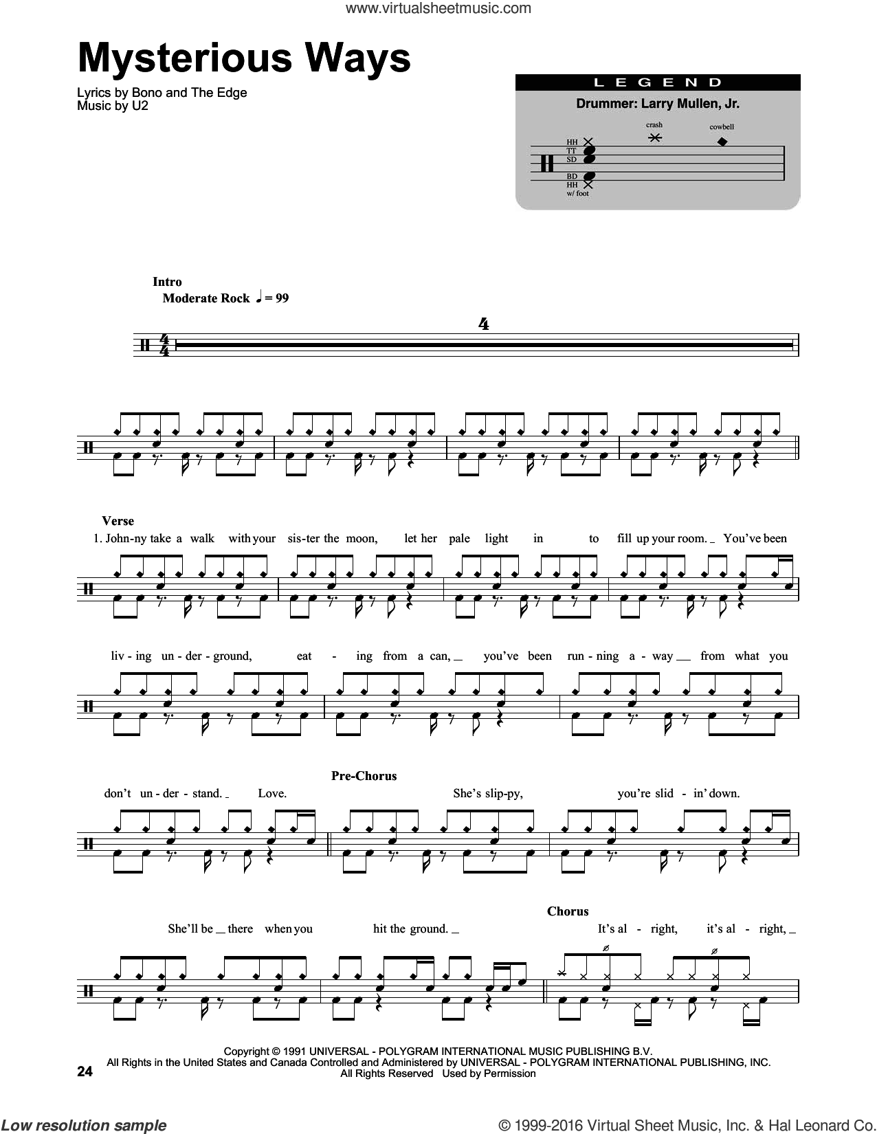 Mysterious Ways sheet music for drums by U2 and Bono. Score Image Preview.
