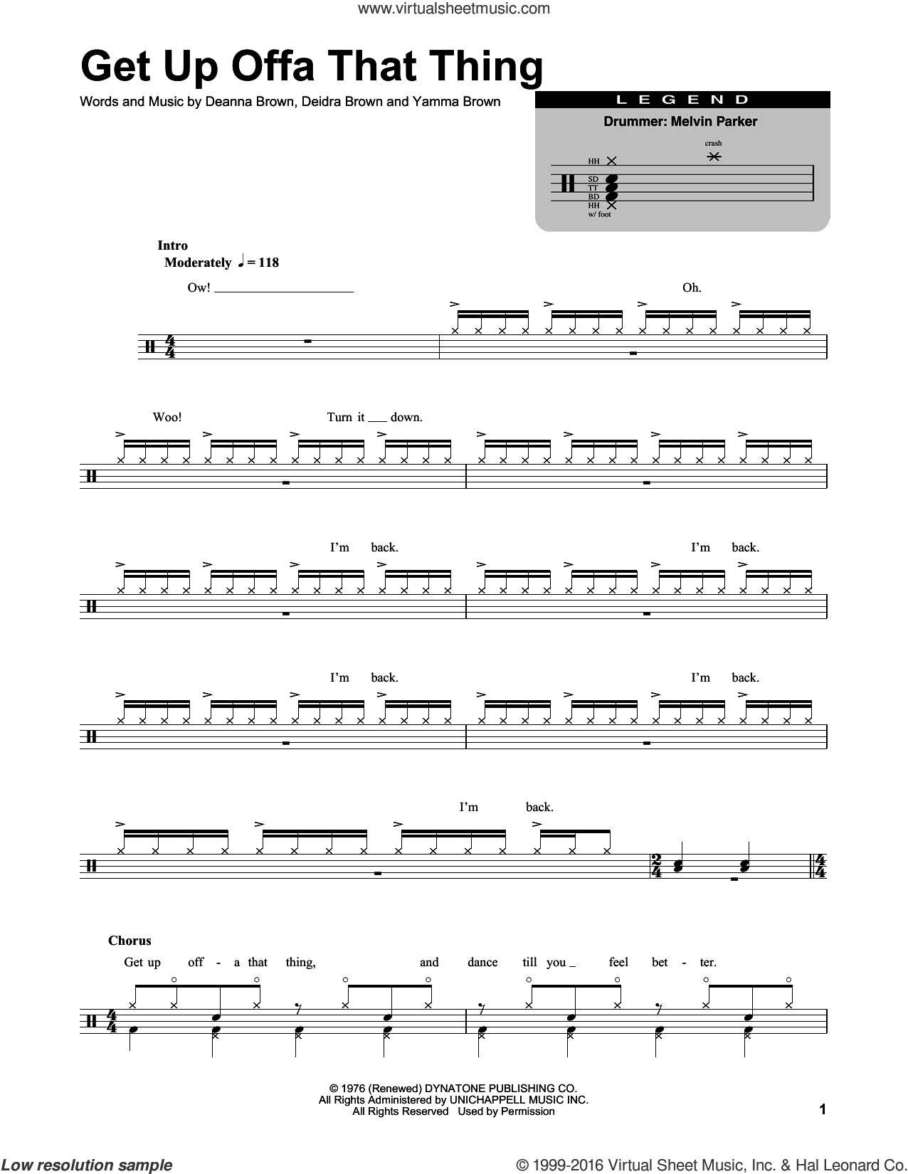 Get Up Offa That Thing sheet music for drums by James Brown, Deanna Brown, Deidra Brown and Yamma Brown, intermediate skill level