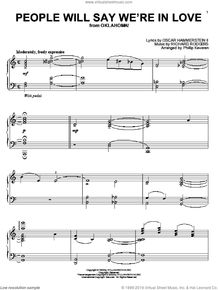 People Will Say We're In Love sheet music for piano solo by Rodgers & Hammerstein, Phillip Keveren, Oklahoma! (Musical), Oscar II Hammerstein and Richard Rodgers, intermediate skill level