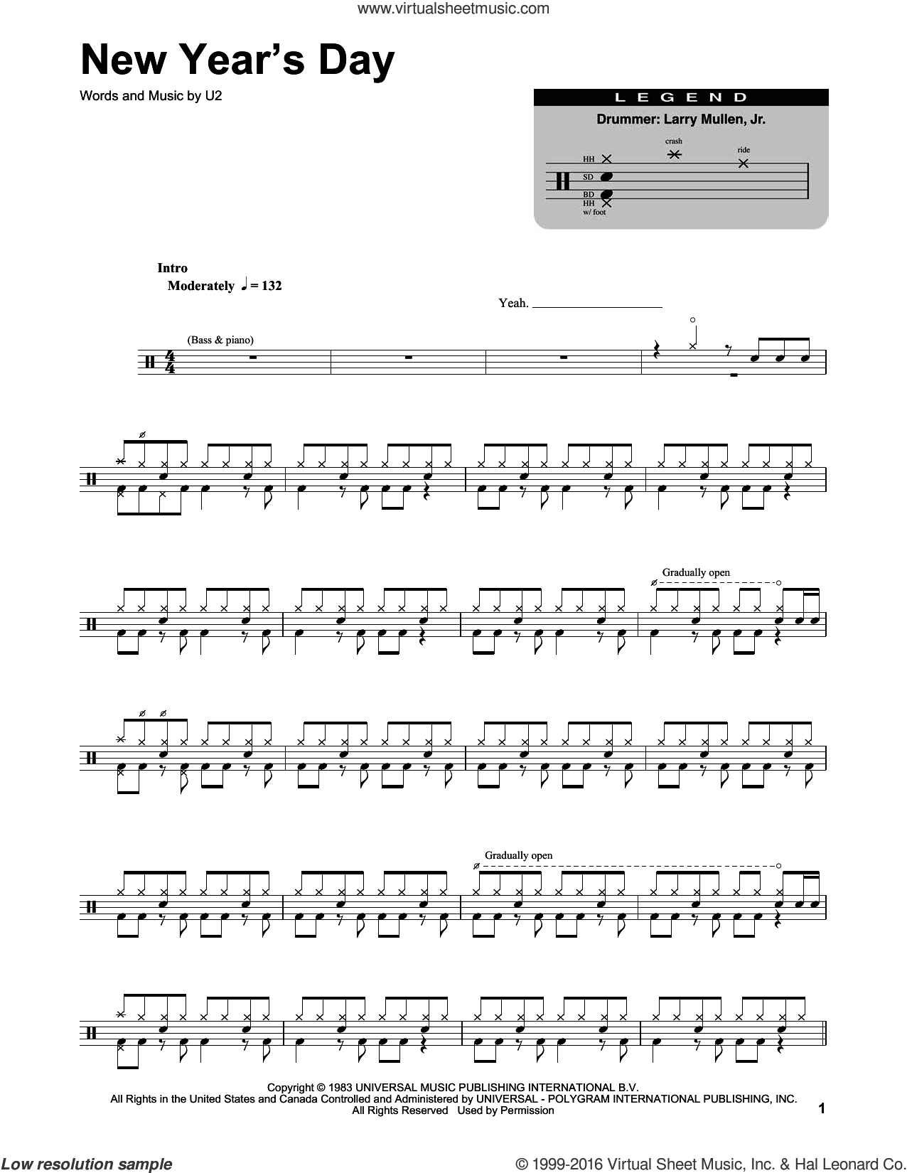 New Year's Day sheet music for drums by U2, intermediate drums. Score Image Preview.