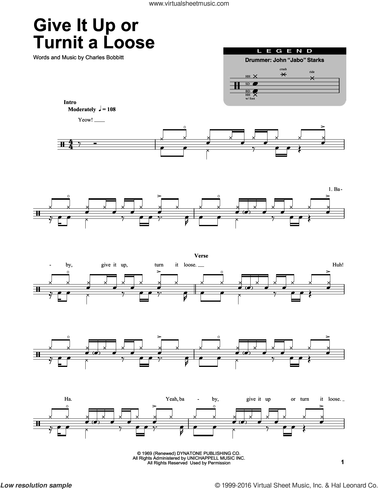 Give It Up Or Turnit A Loose sheet music for drums by Charles Bobbitt and James Brown. Score Image Preview.