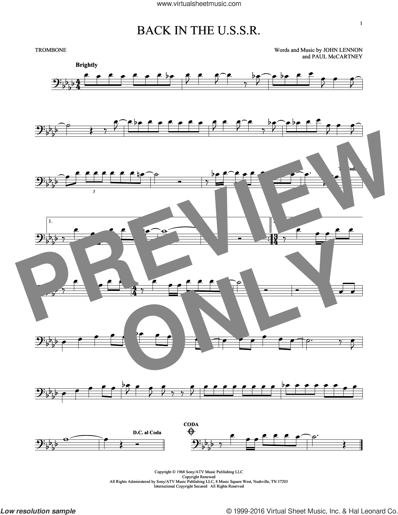 Back In The U.S.S.R. sheet music for trombone solo by The Beatles, John Lennon and Paul McCartney. Score Image Preview.
