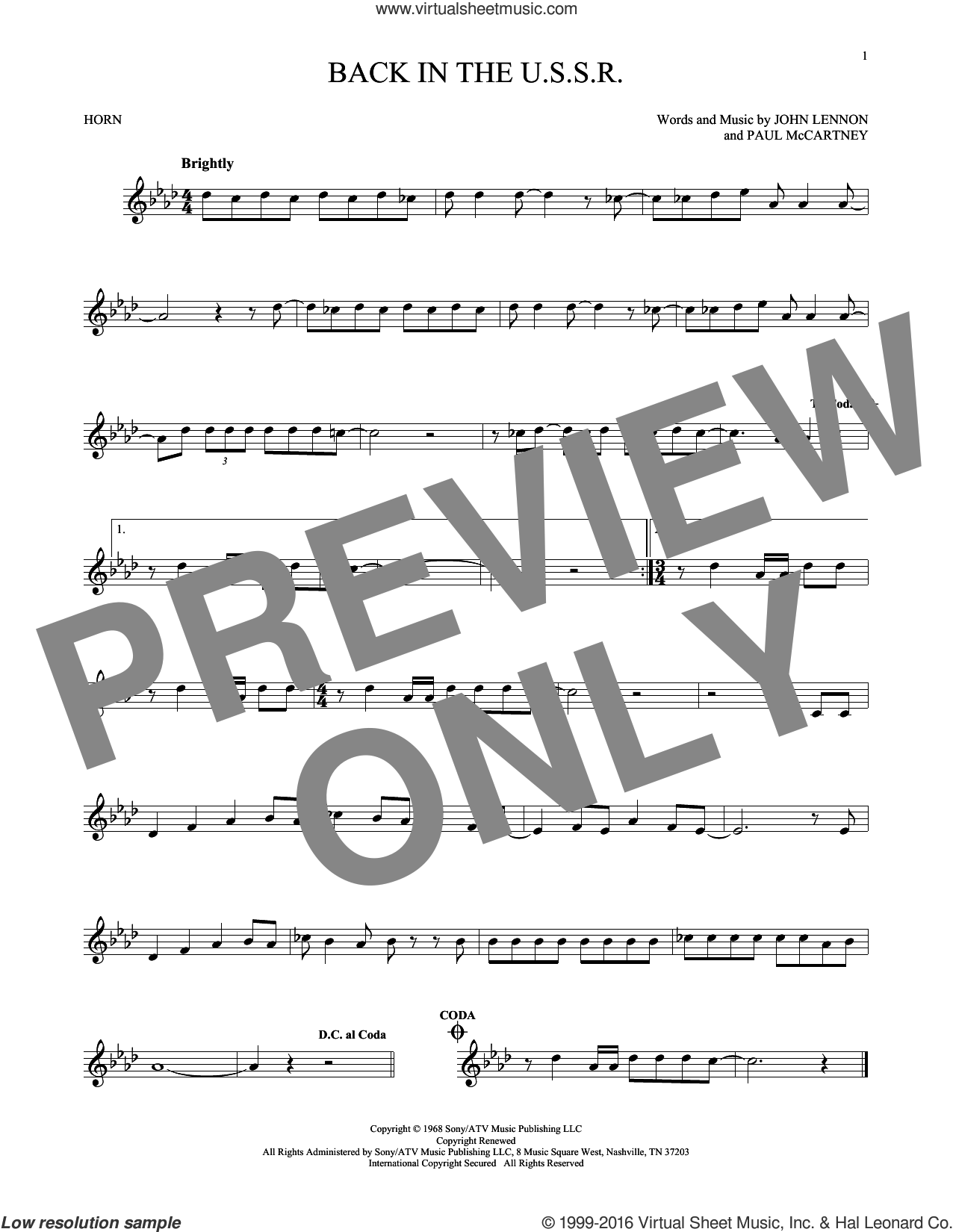 Back In The U.S.S.R. sheet music for horn solo by The Beatles, John Lennon and Paul McCartney, intermediate horn. Score Image Preview.