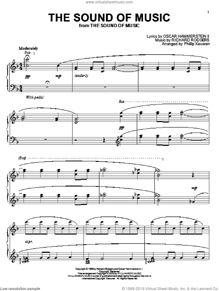 The Sound Of Music sheet music for piano solo by Rodgers & Hammerstein, Phillip Keveren, The Sound Of Music (Musical), Oscar II Hammerstein and Richard Rodgers, intermediate skill level