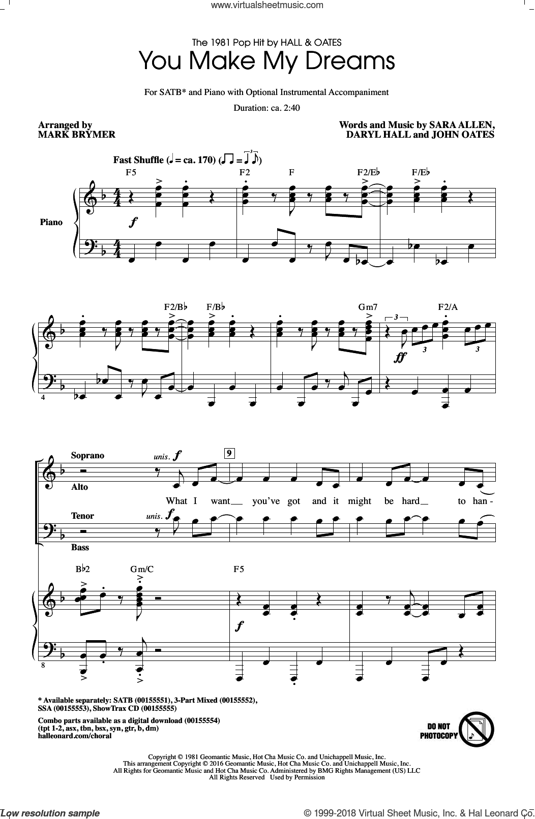You Make My Dreams sheet music for choir (SATB) by Daryl Hall, Mark Brymer, Hall and Oates, John Oates and Sara Allen. Score Image Preview.
