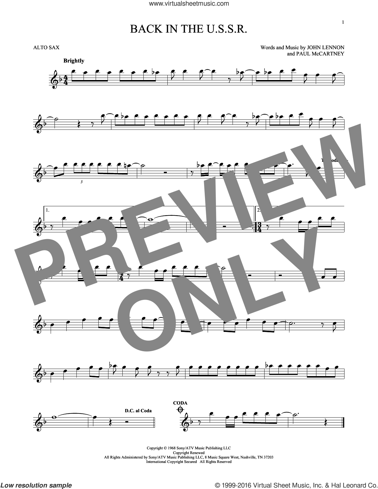Back In The U.S.S.R. sheet music for alto saxophone solo by Paul McCartney, The Beatles and John Lennon. Score Image Preview.