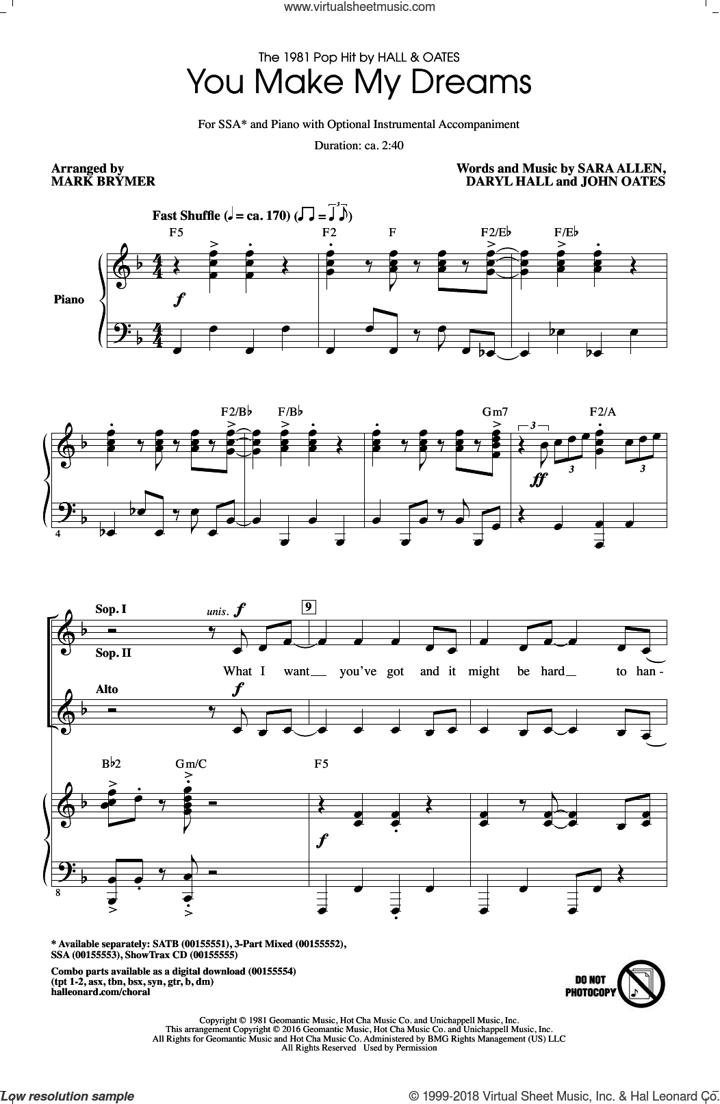 You Make My Dreams sheet music for choir (SSA: soprano, alto) by Mark Brymer, Daryl Hall & John Oates, Hall and Oates, Daryl Hall, John Oates and Sara Allen, intermediate skill level