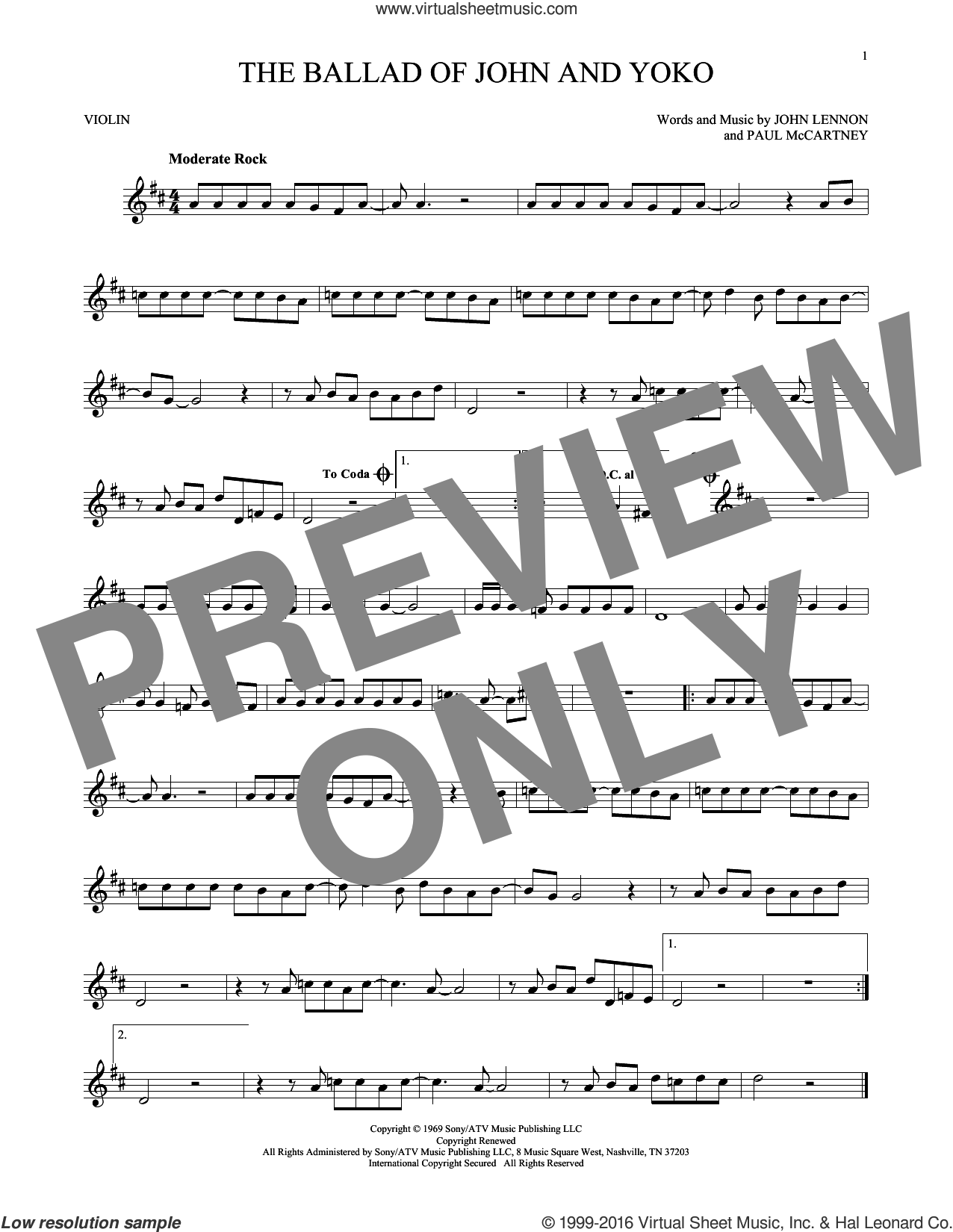 The Ballad Of John And Yoko sheet music for violin solo by The Beatles, John Lennon and Paul McCartney, intermediate skill level