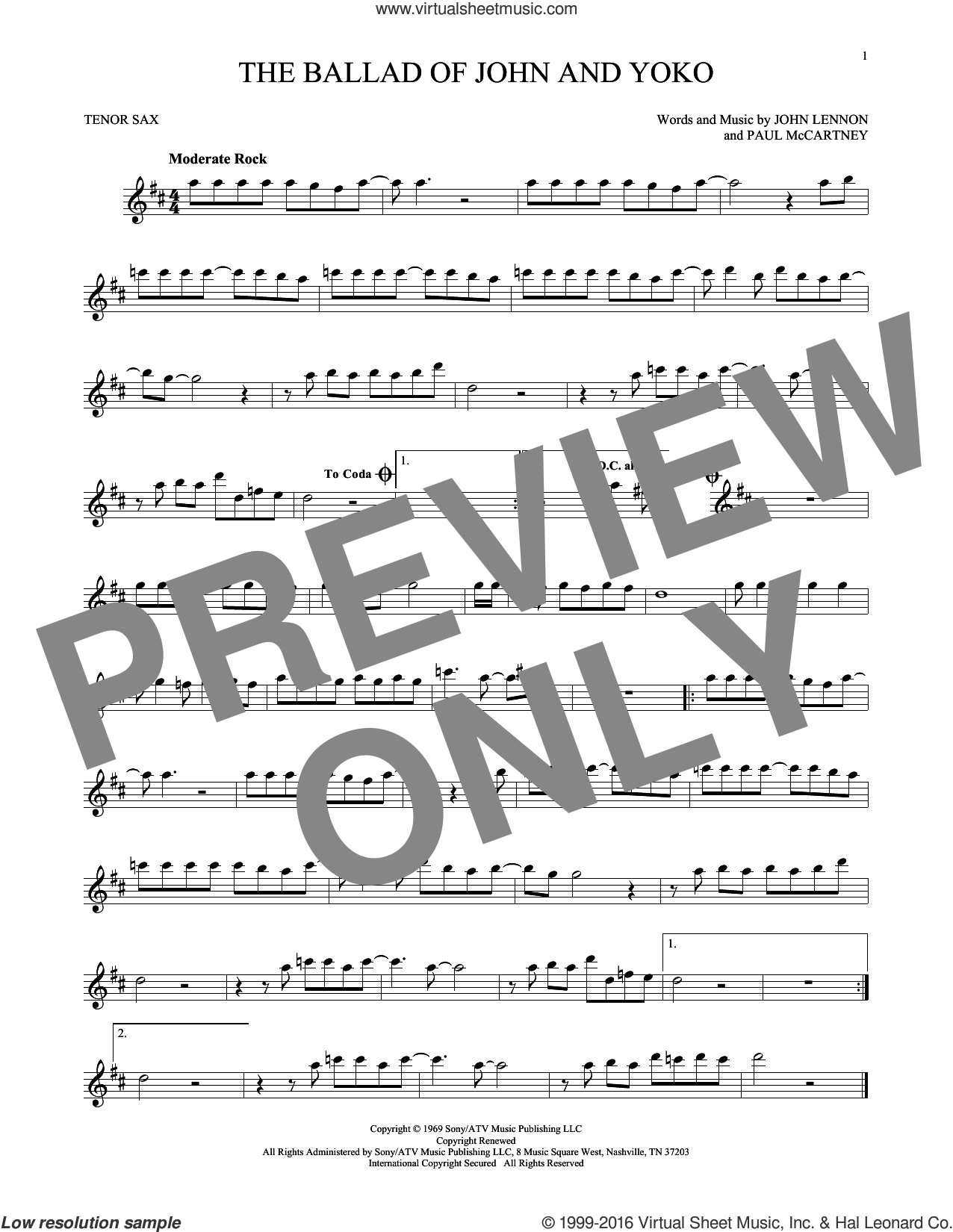 The Ballad Of John And Yoko sheet music for tenor saxophone solo by The Beatles, John Lennon and Paul McCartney, intermediate tenor saxophone. Score Image Preview.