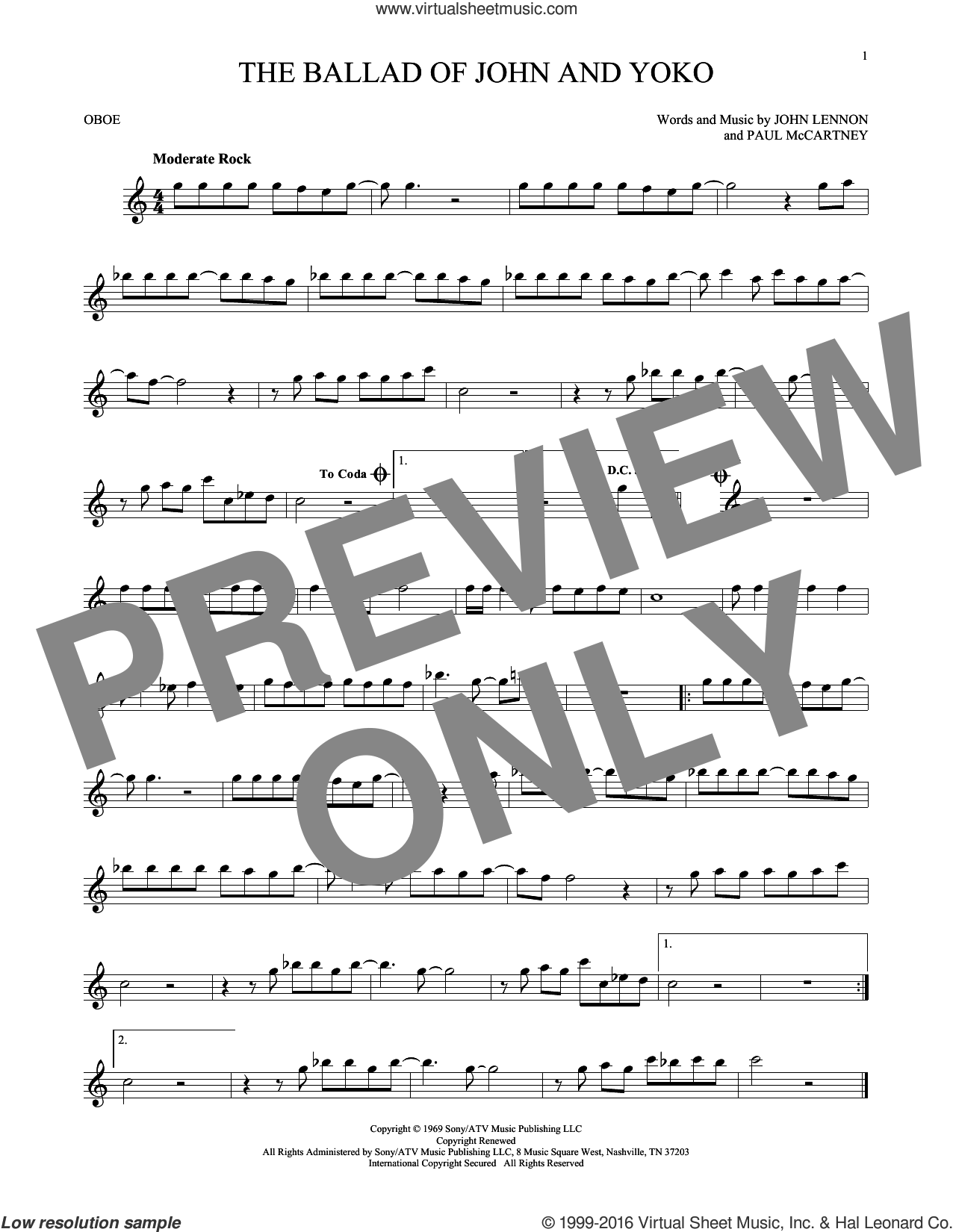 The Ballad Of John And Yoko sheet music for oboe solo by The Beatles, John Lennon and Paul McCartney, intermediate. Score Image Preview.
