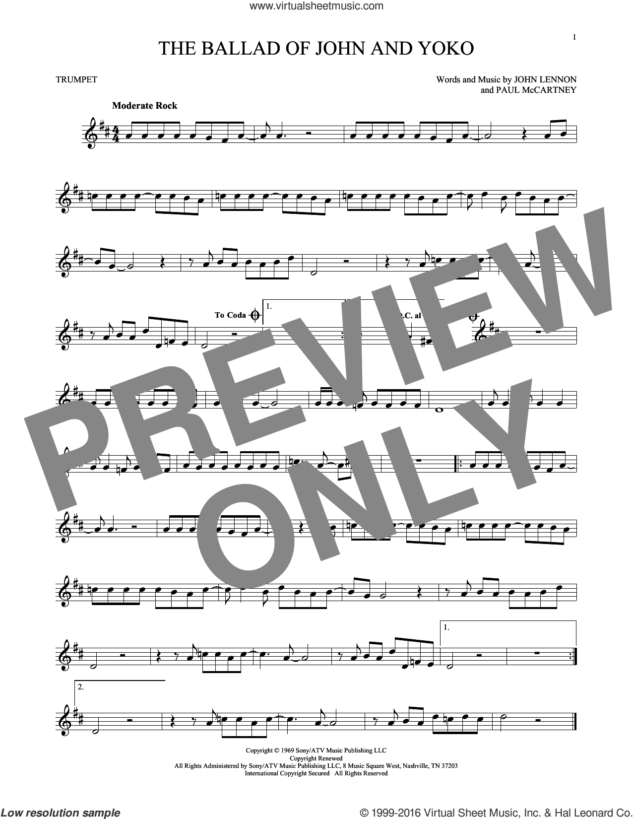The Ballad Of John And Yoko sheet music for trumpet solo by Paul McCartney, The Beatles and John Lennon. Score Image Preview.