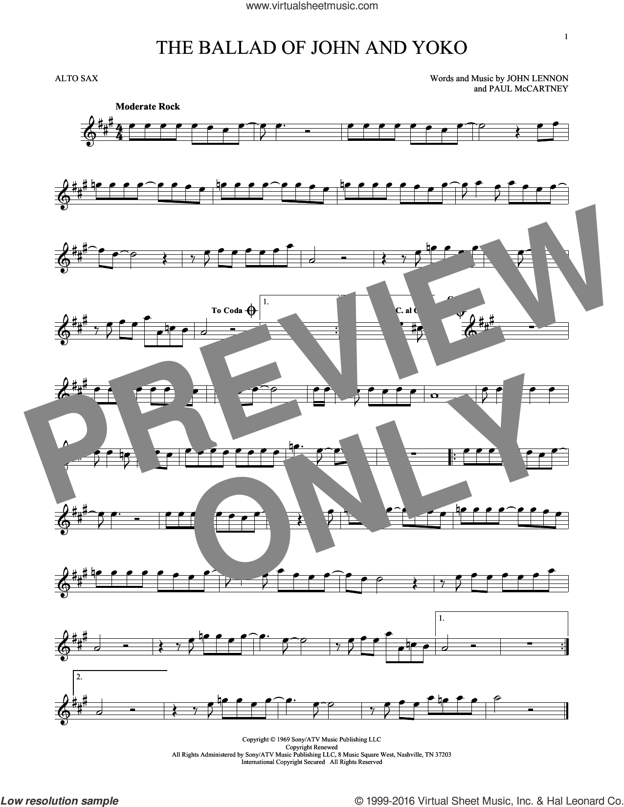 The Ballad Of John And Yoko sheet music for alto saxophone solo by The Beatles, John Lennon and Paul McCartney, intermediate. Score Image Preview.