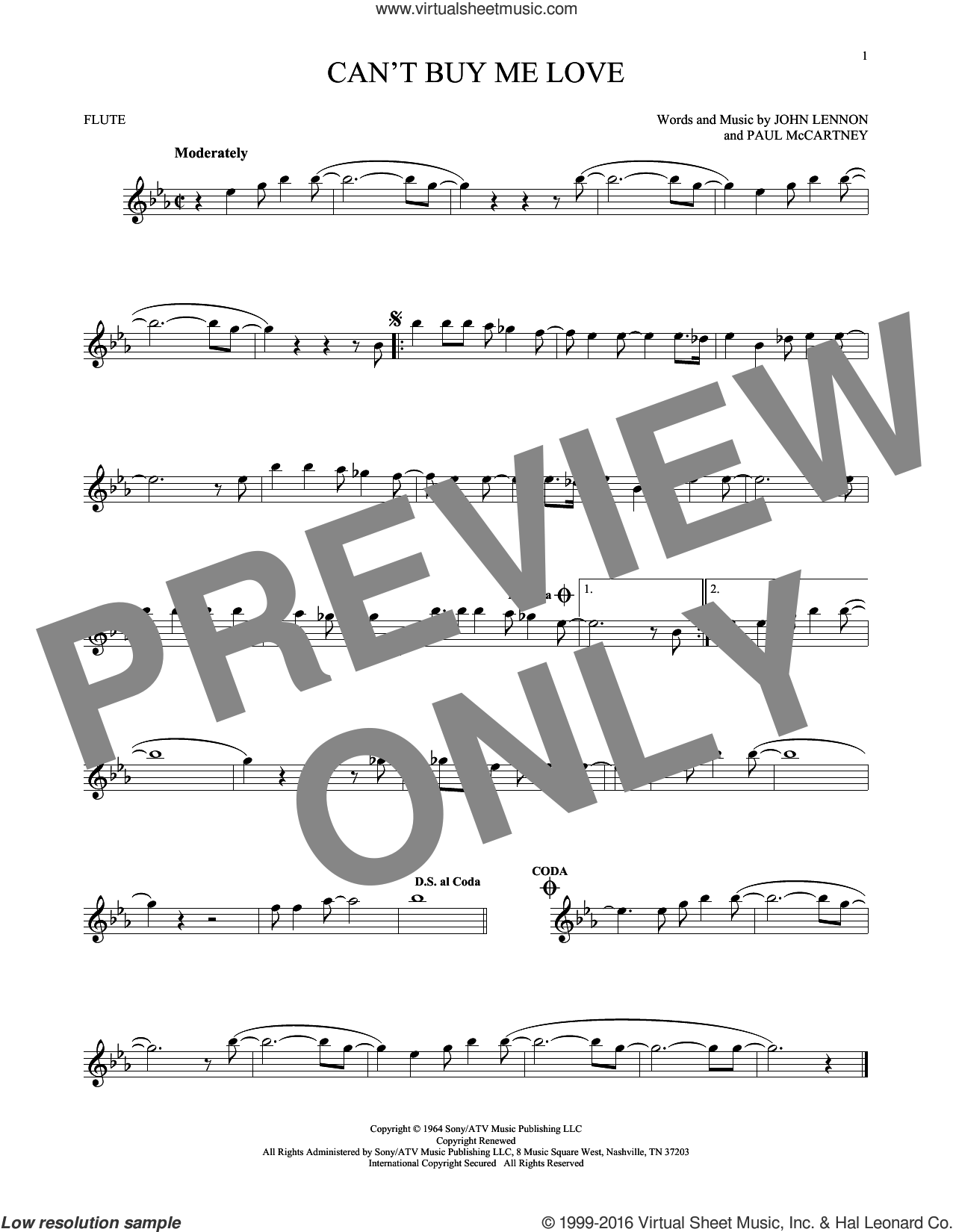 Can't Buy Me Love sheet music for flute solo by The Beatles, John Lennon and Paul McCartney, intermediate skill level