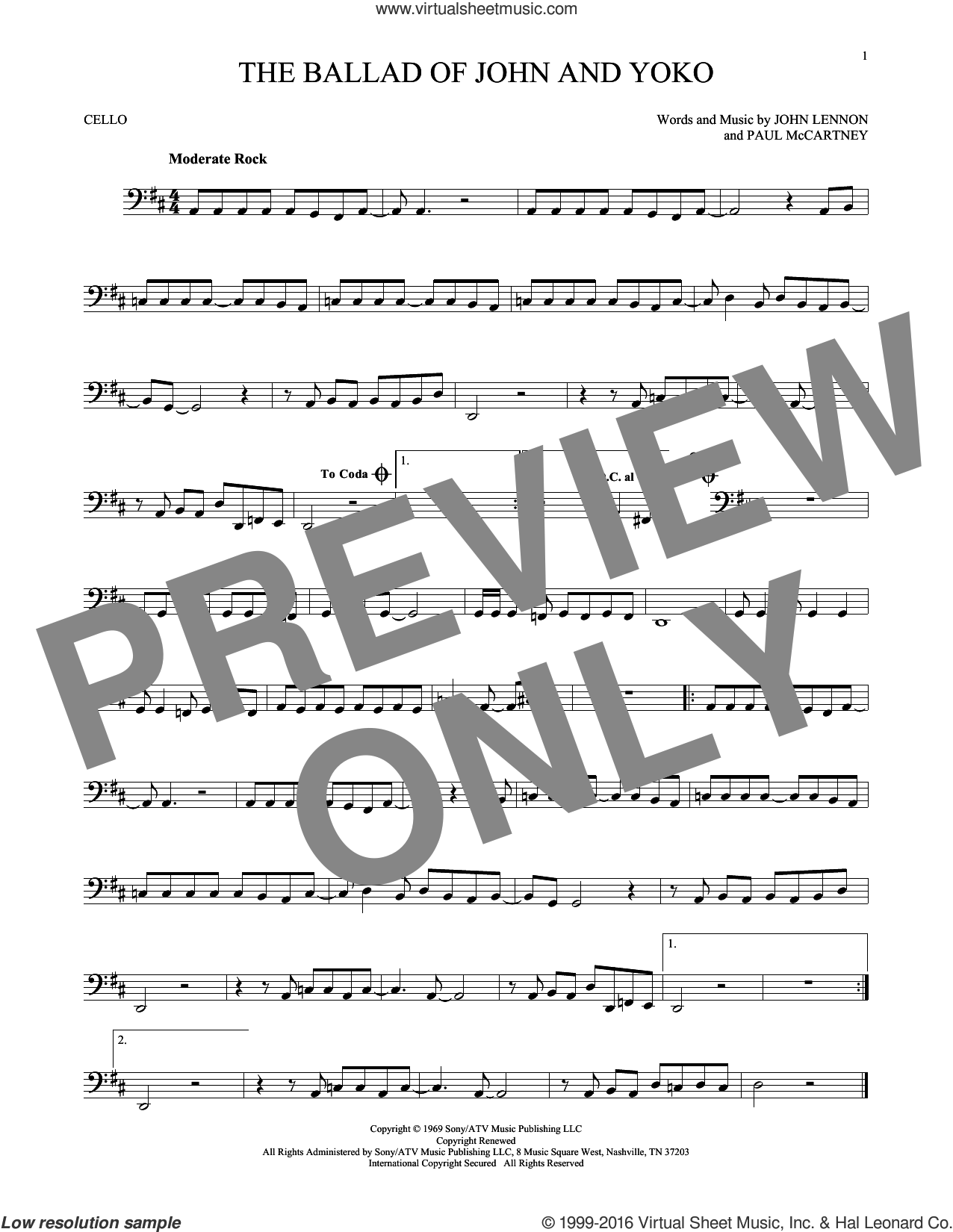 The Ballad Of John And Yoko sheet music for cello solo by Paul McCartney, The Beatles and John Lennon. Score Image Preview.