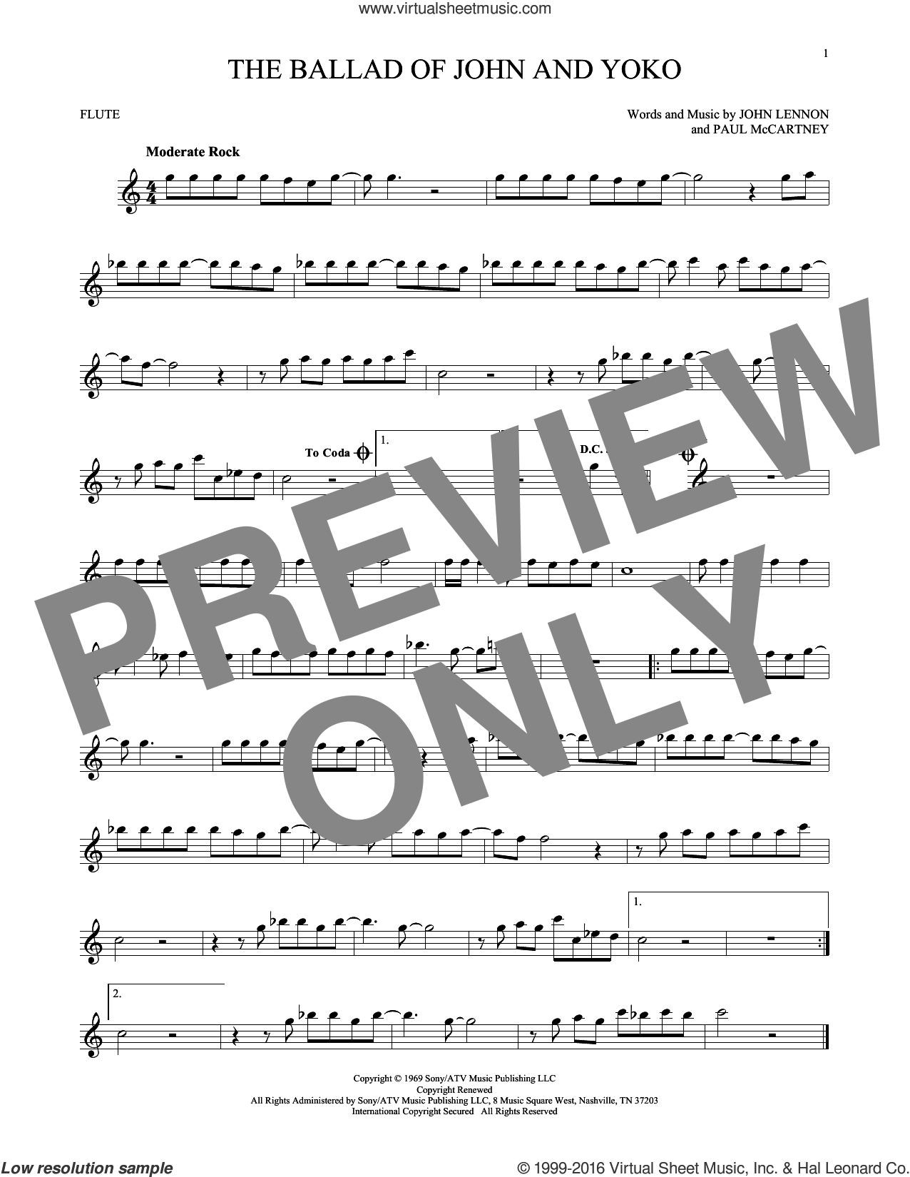 The Ballad Of John And Yoko sheet music for flute solo by The Beatles, John Lennon and Paul McCartney, intermediate skill level