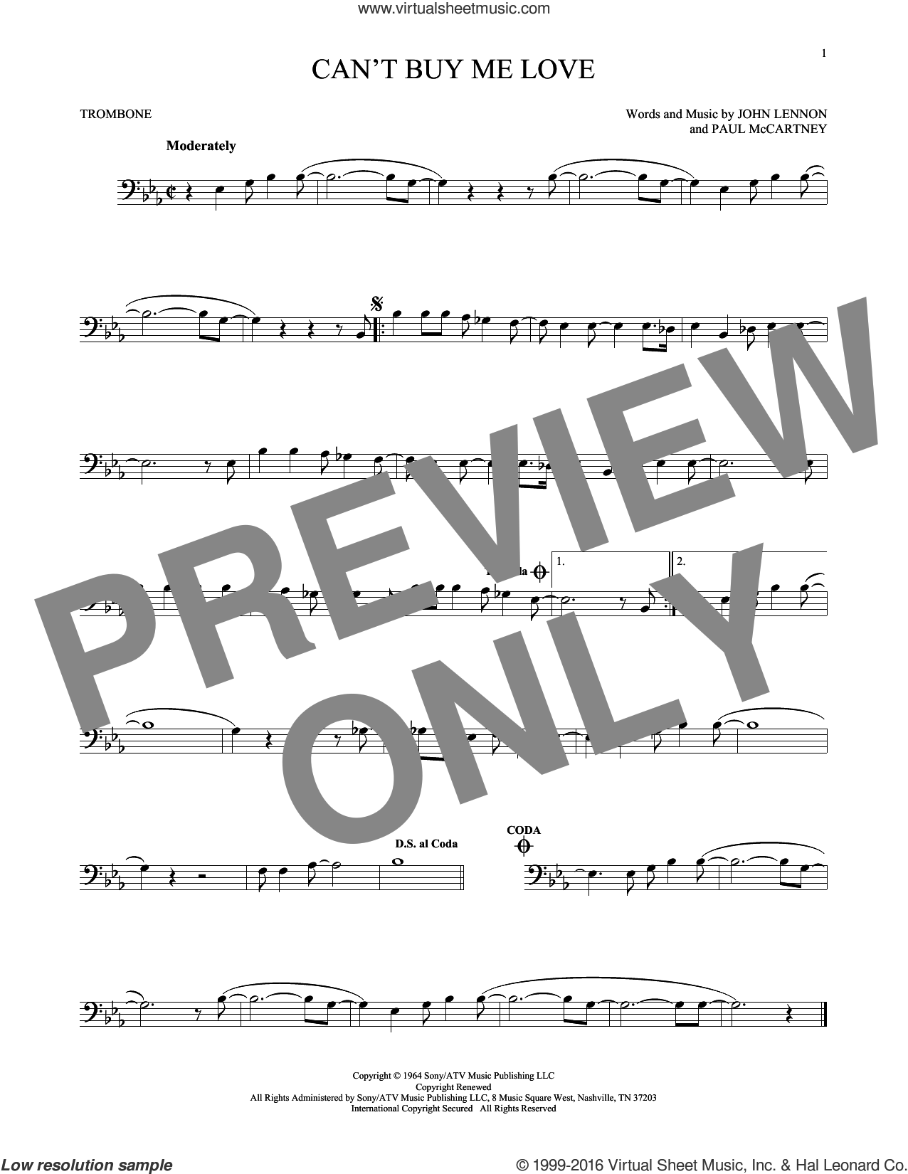 Can't Buy Me Love sheet music for trombone solo by Paul McCartney, The Beatles and John Lennon. Score Image Preview.