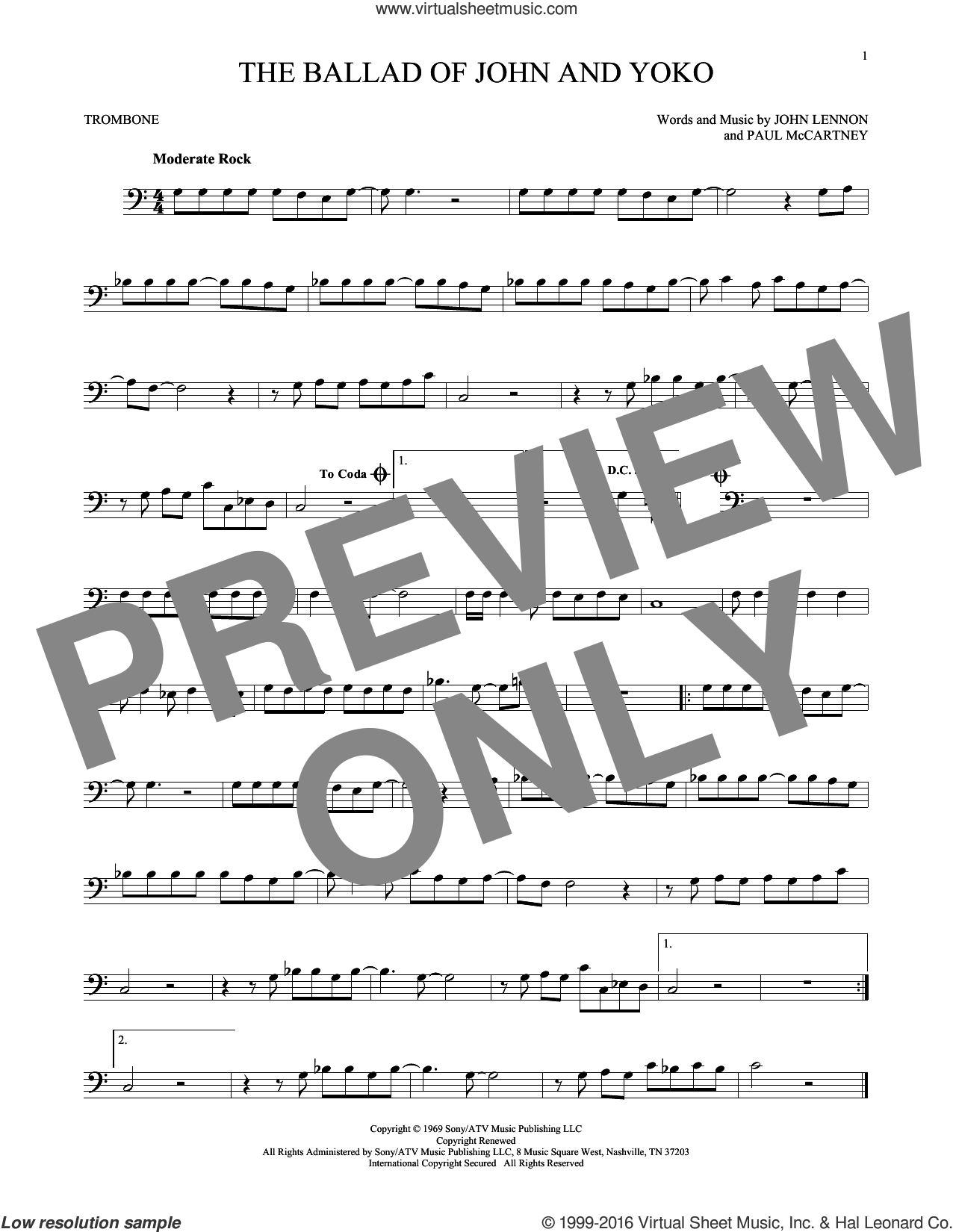 The Ballad Of John And Yoko sheet music for trombone solo by Paul McCartney, The Beatles and John Lennon. Score Image Preview.