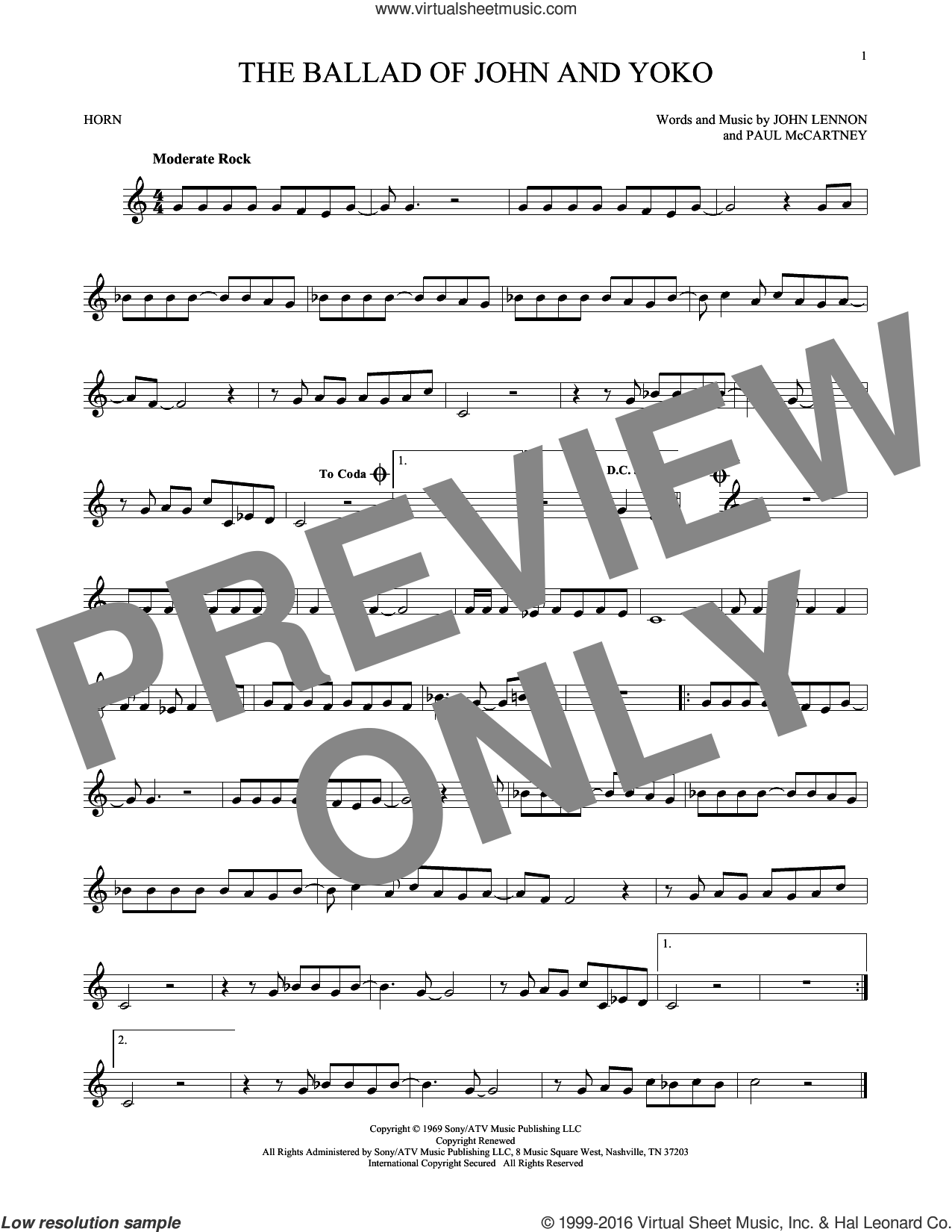 The Ballad Of John And Yoko sheet music for horn solo by Paul McCartney, The Beatles and John Lennon. Score Image Preview.