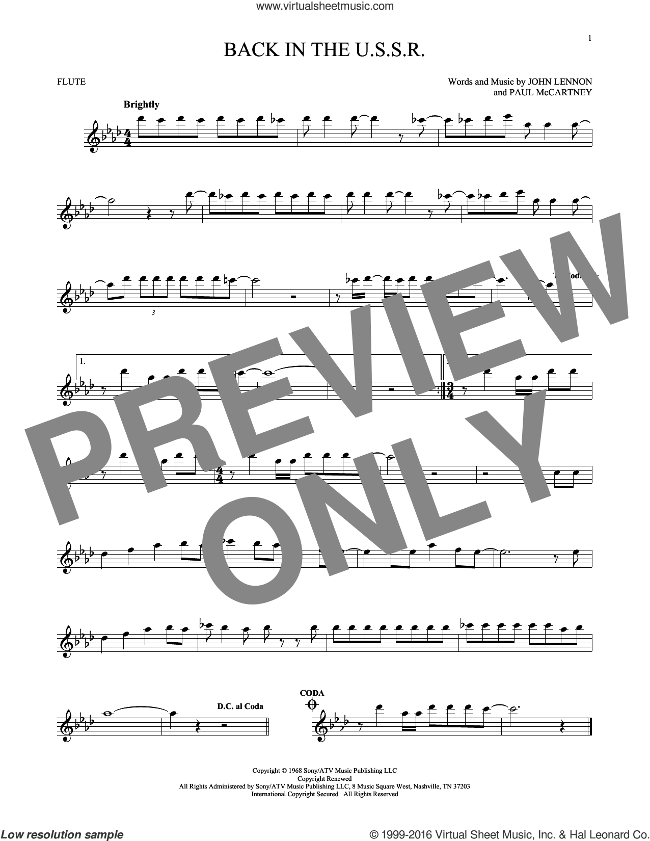 Back In The U.S.S.R. sheet music for flute solo by The Beatles, John Lennon and Paul McCartney, intermediate skill level