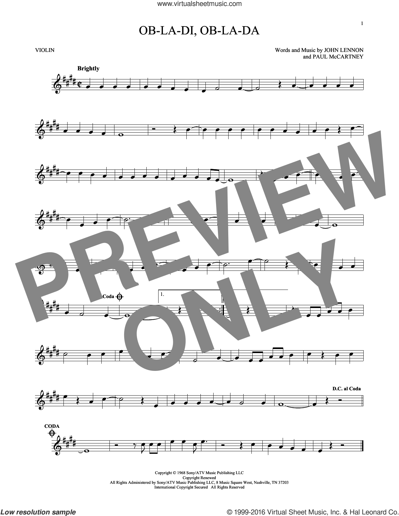 Ob-La-Di, Ob-La-Da sheet music for violin solo by The Beatles, John Lennon and Paul McCartney, intermediate skill level