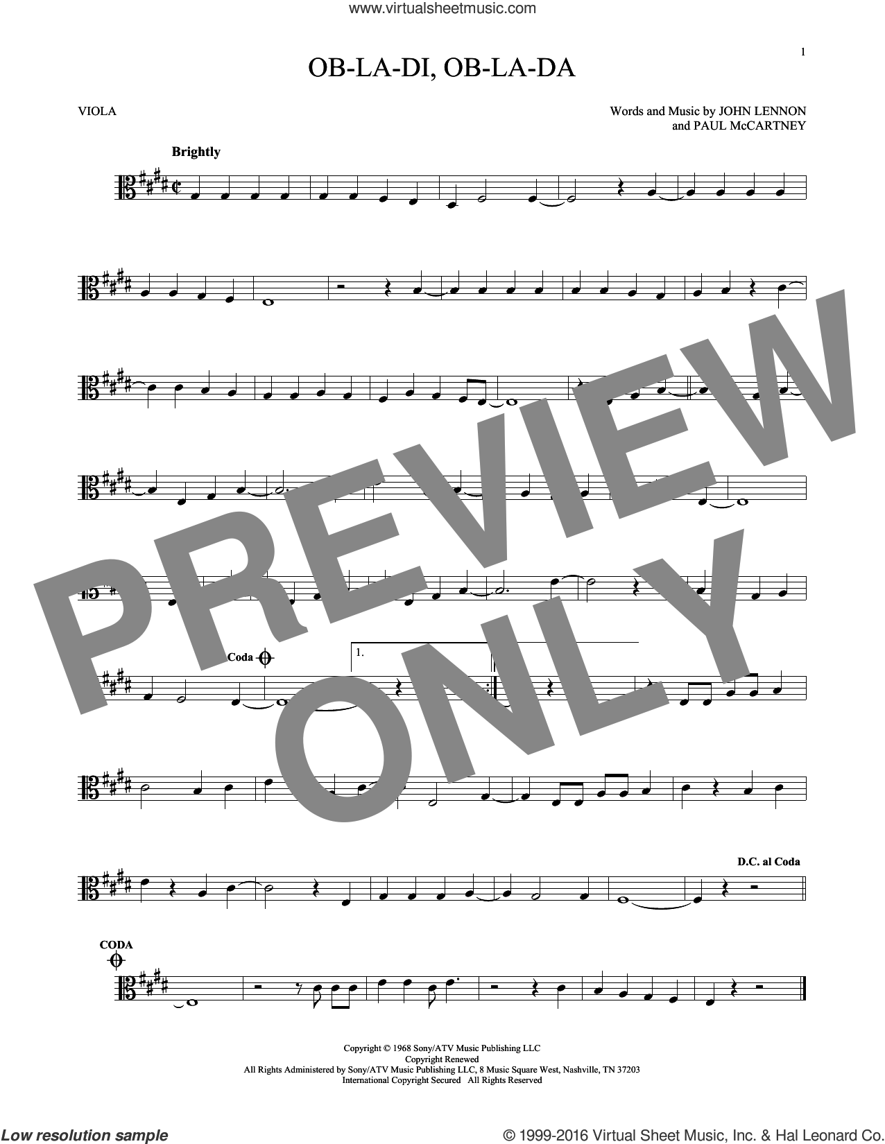 Ob-La-Di, Ob-La-Da sheet music for viola solo by The Beatles, John Lennon and Paul McCartney. Score Image Preview.