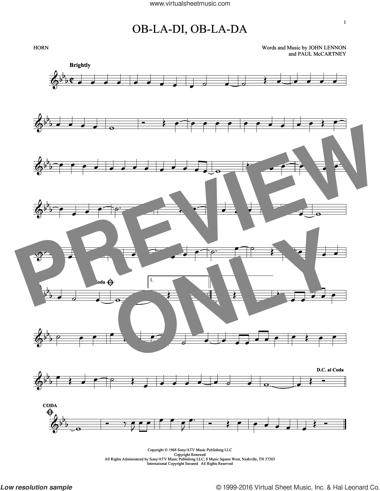 Ob-La-Di, Ob-La-Da sheet music for horn solo by The Beatles, John Lennon and Paul McCartney, intermediate skill level