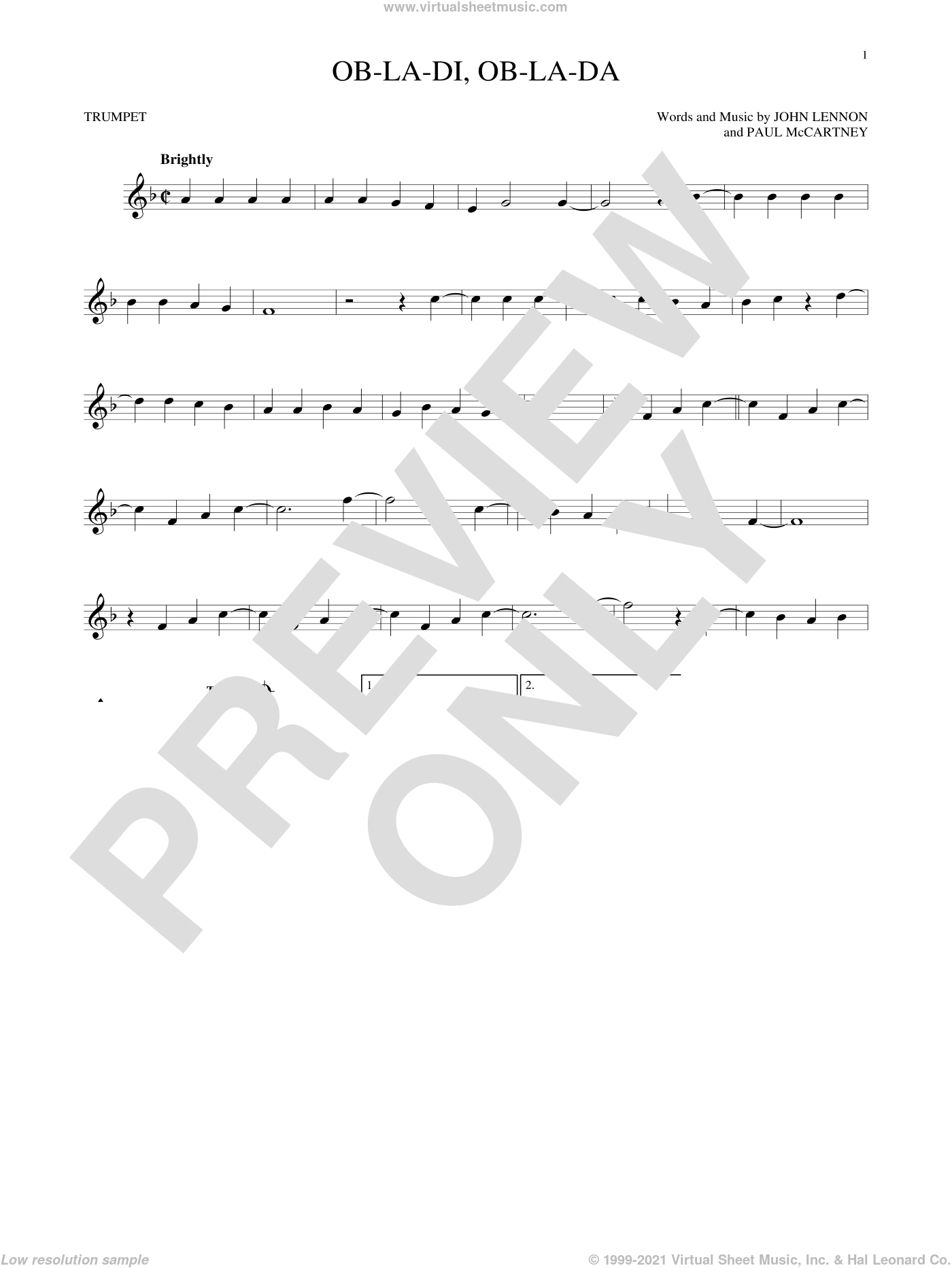 Ob-La-Di, Ob-La-Da sheet music for trumpet solo by The Beatles, John Lennon and Paul McCartney, intermediate trumpet. Score Image Preview.