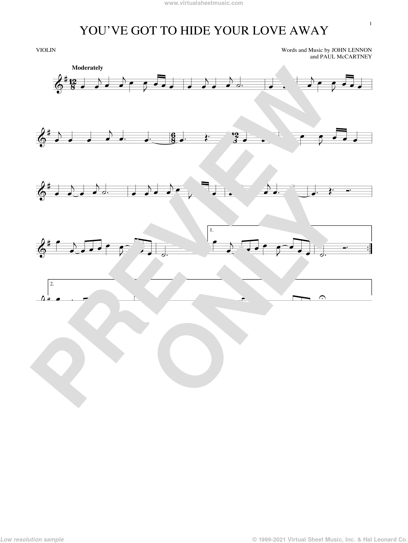 You've Got To Hide Your Love Away sheet music for violin solo by The Beatles, John Lennon and Paul McCartney, intermediate skill level