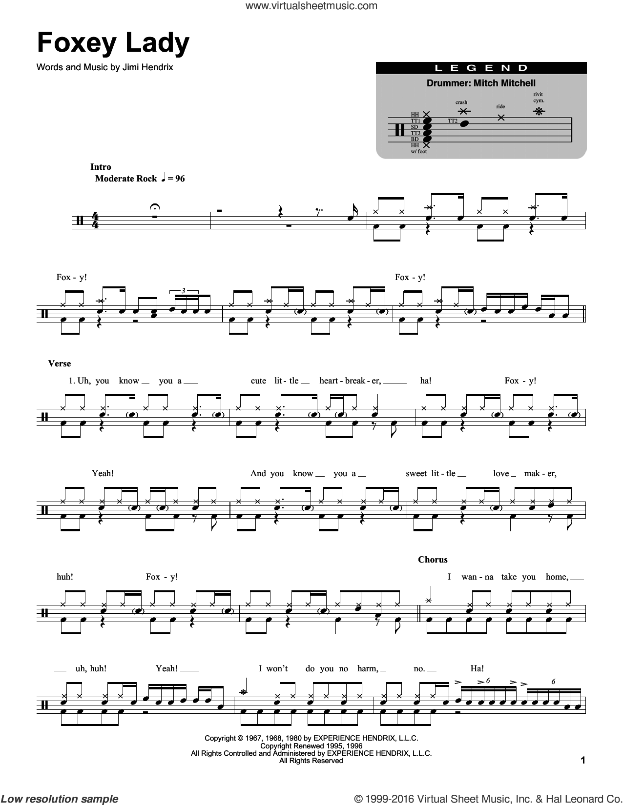 Foxey Lady sheet music for drums by Jimi Hendrix, intermediate skill level