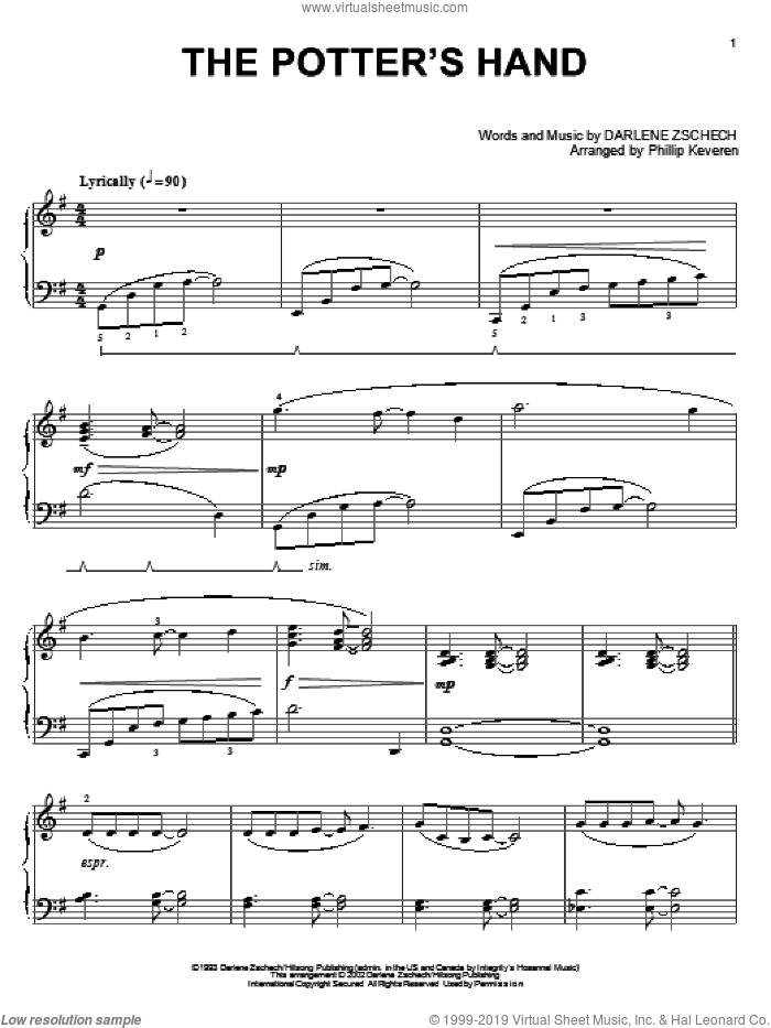 The Potter's Hand sheet music for piano solo by Darlene Zschech and Phillip Keveren, intermediate skill level