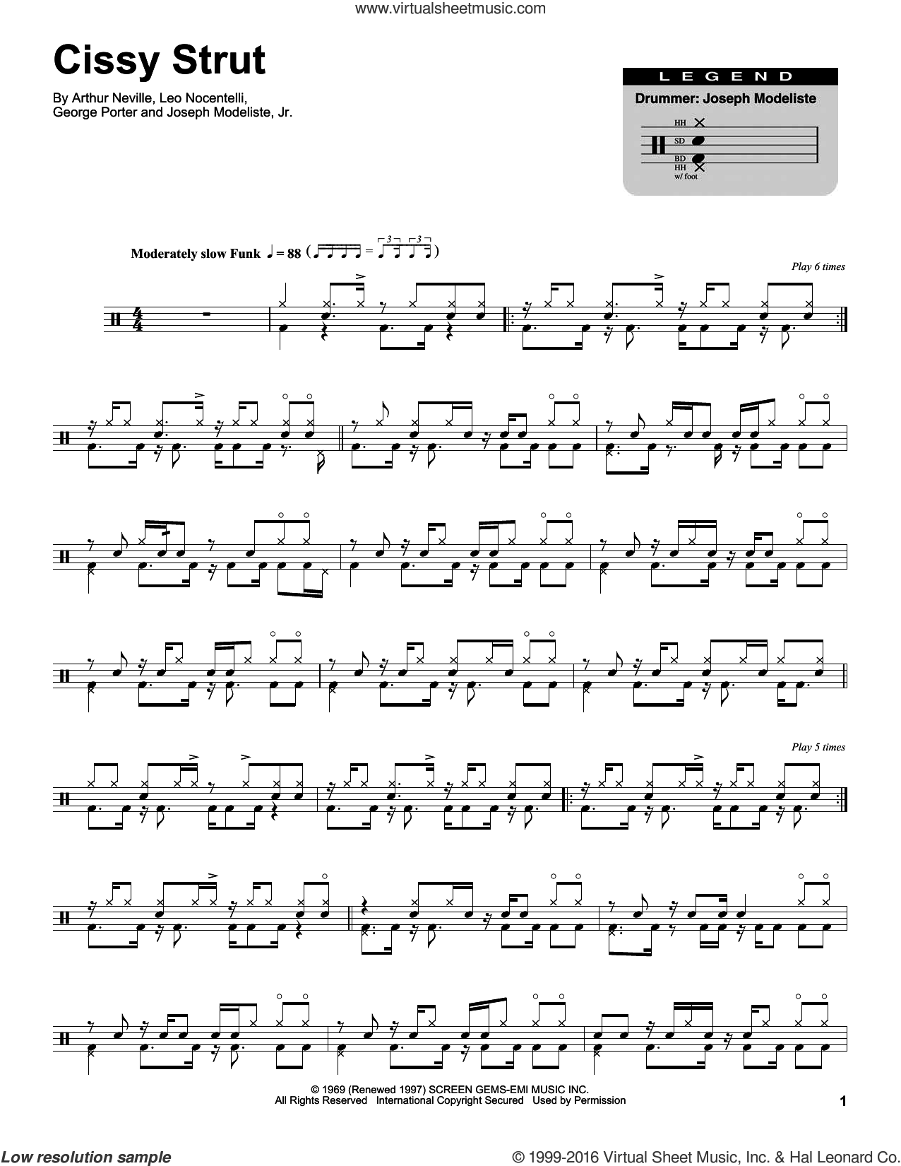Cissy Strut sheet music for drums by The Meters, Arthur Neville and Leo Nocentelli, intermediate drums. Score Image Preview.